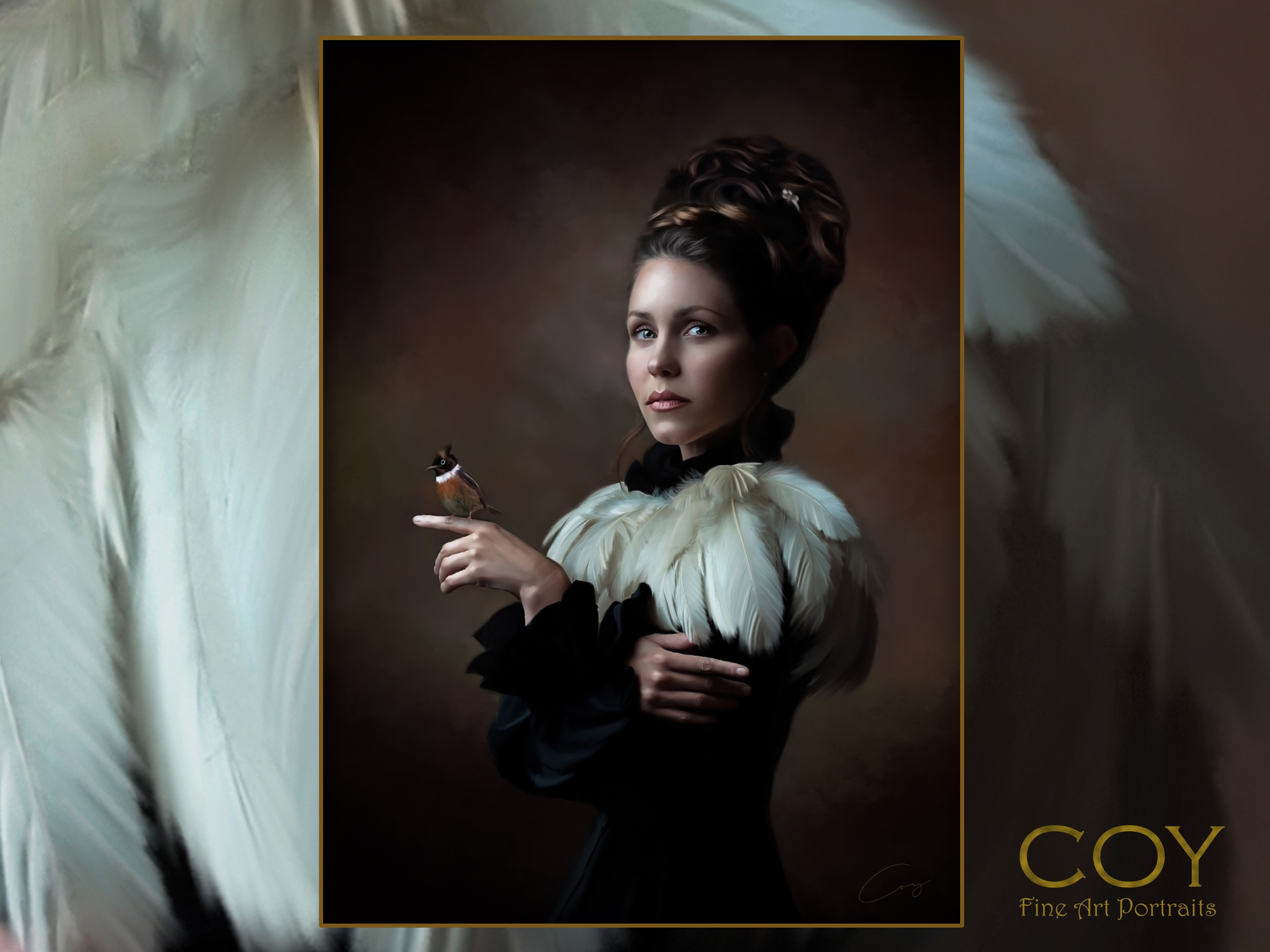 family-pet-painting-san diego-rancho santa fe-temecula-laguna-rembrandt-couture-feathers-girls.jpg