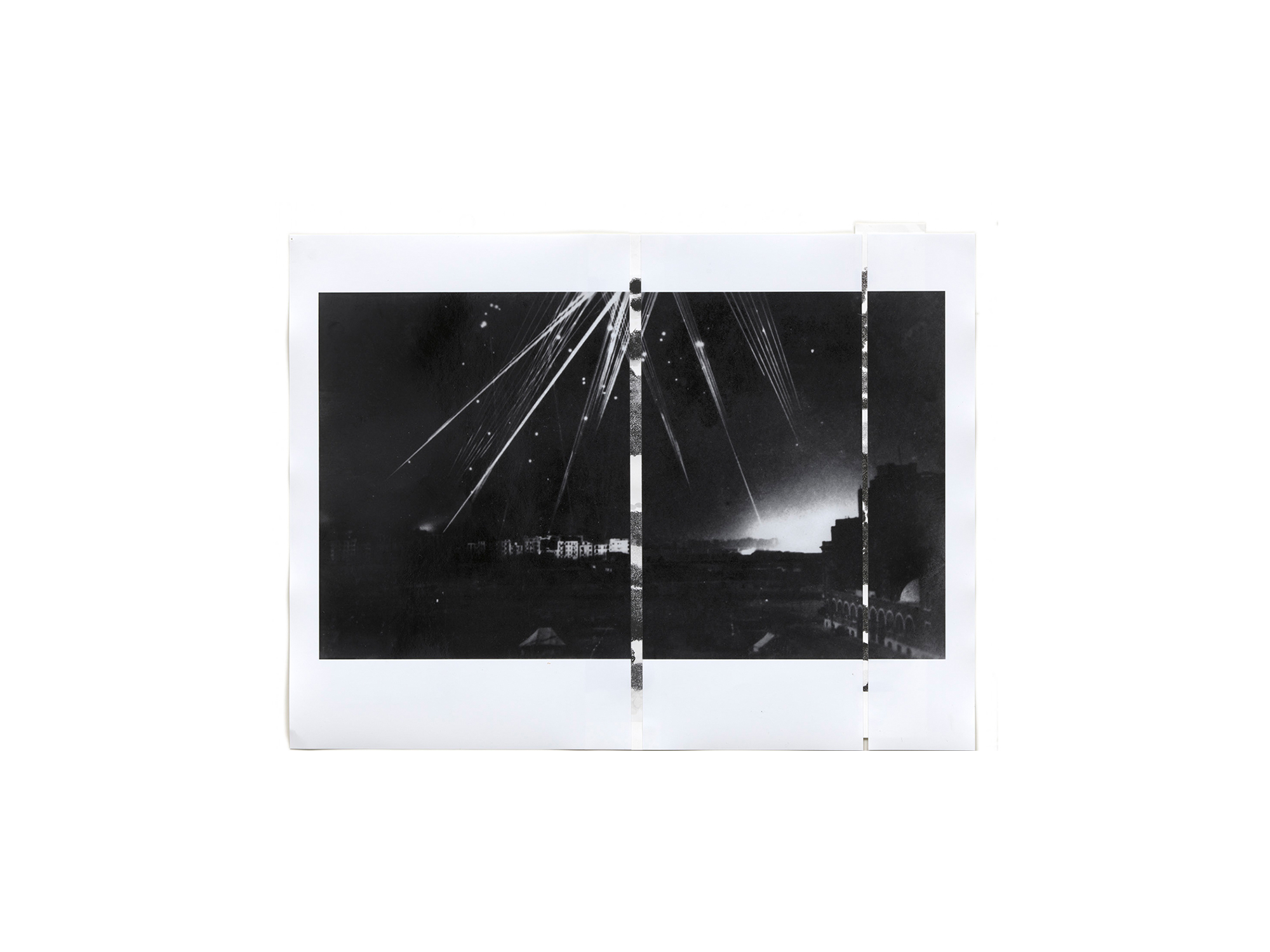 Denise Green   RJG: Air raid Alexandria 1 (Variant) , 2016 one photograph and two drawings 43 x 56.5cm   ARTIST BIO