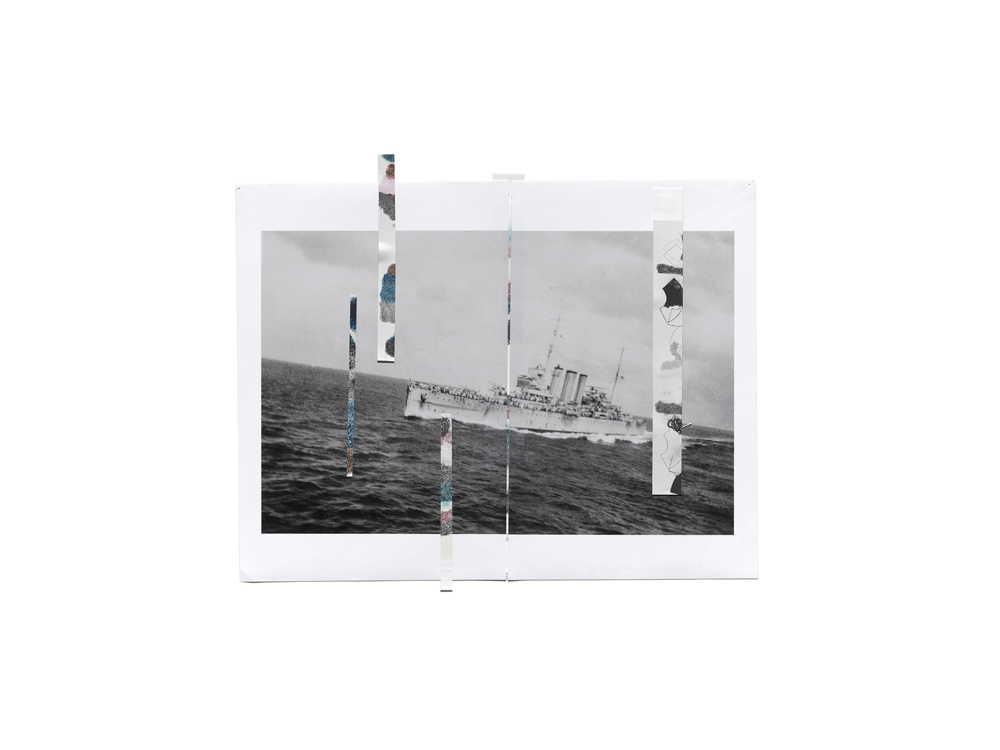 Denise Green   RJG: HMS Canberra Leaving the Convoy , 2016 one photograph and five drawings 47 x 56.5cm   ARTIST BIO