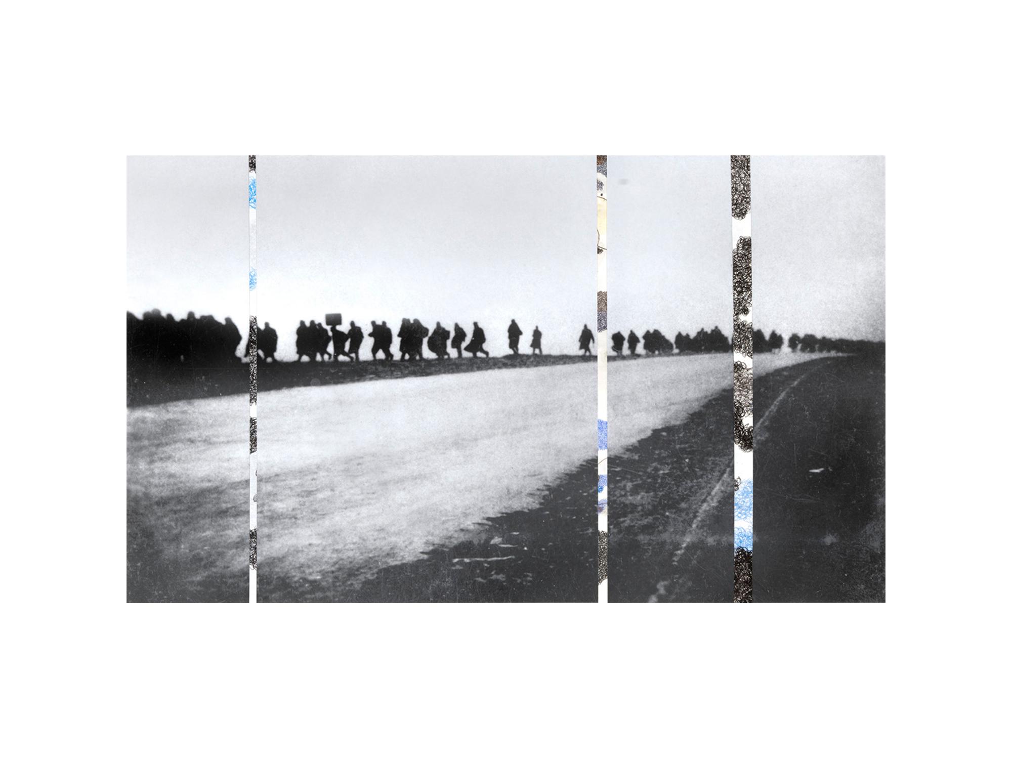 Denise Green   RJG: Italian P.O.W. Long Long Trail , 2016 one photograph and three drawings 106 x 66.5cm   ARTIST BIO