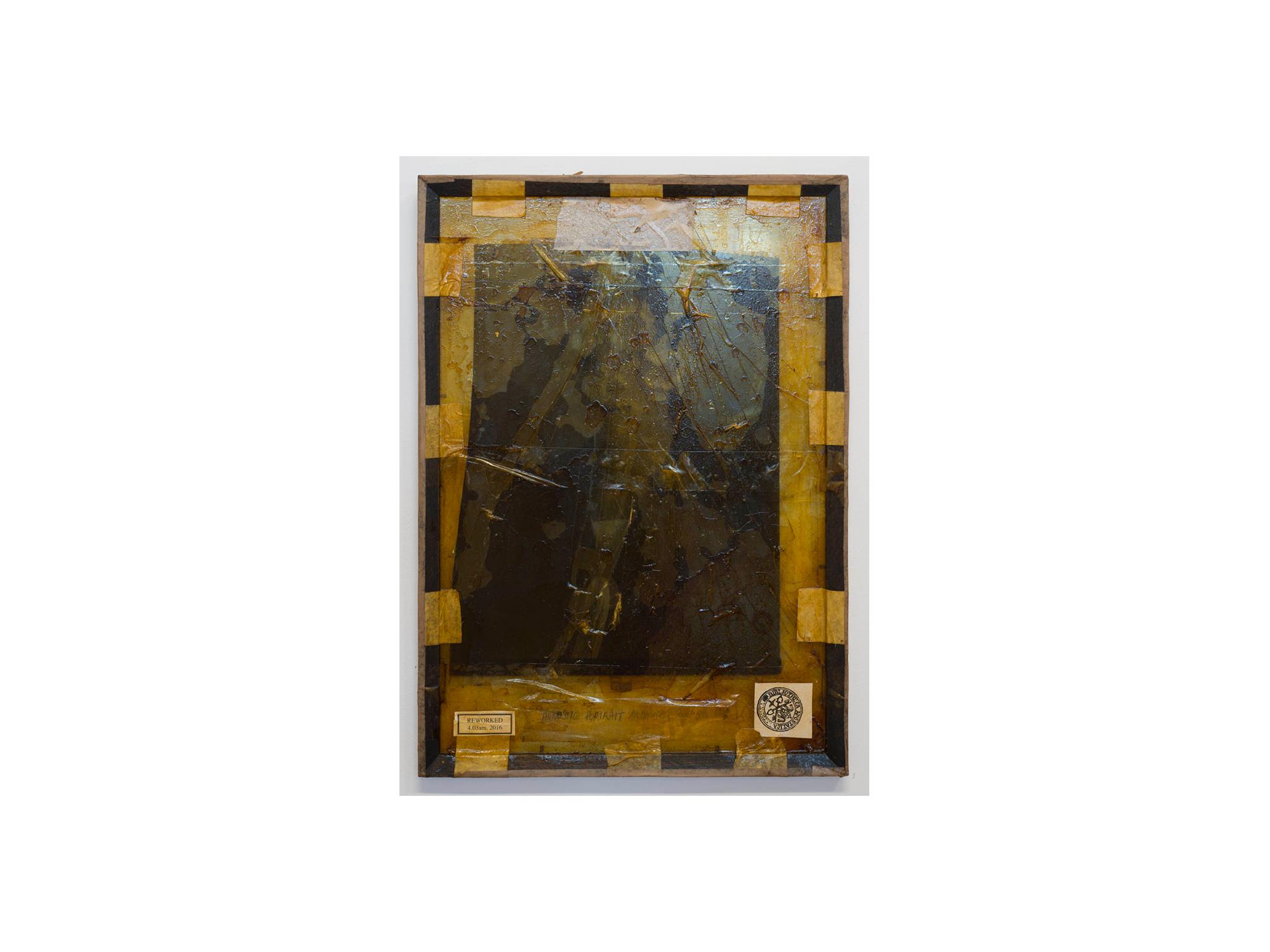 Bernhard Sachs   Agnostic Portrait , 2016 mixed media on framed glass 64 x 44cm   ARTIST BIO
