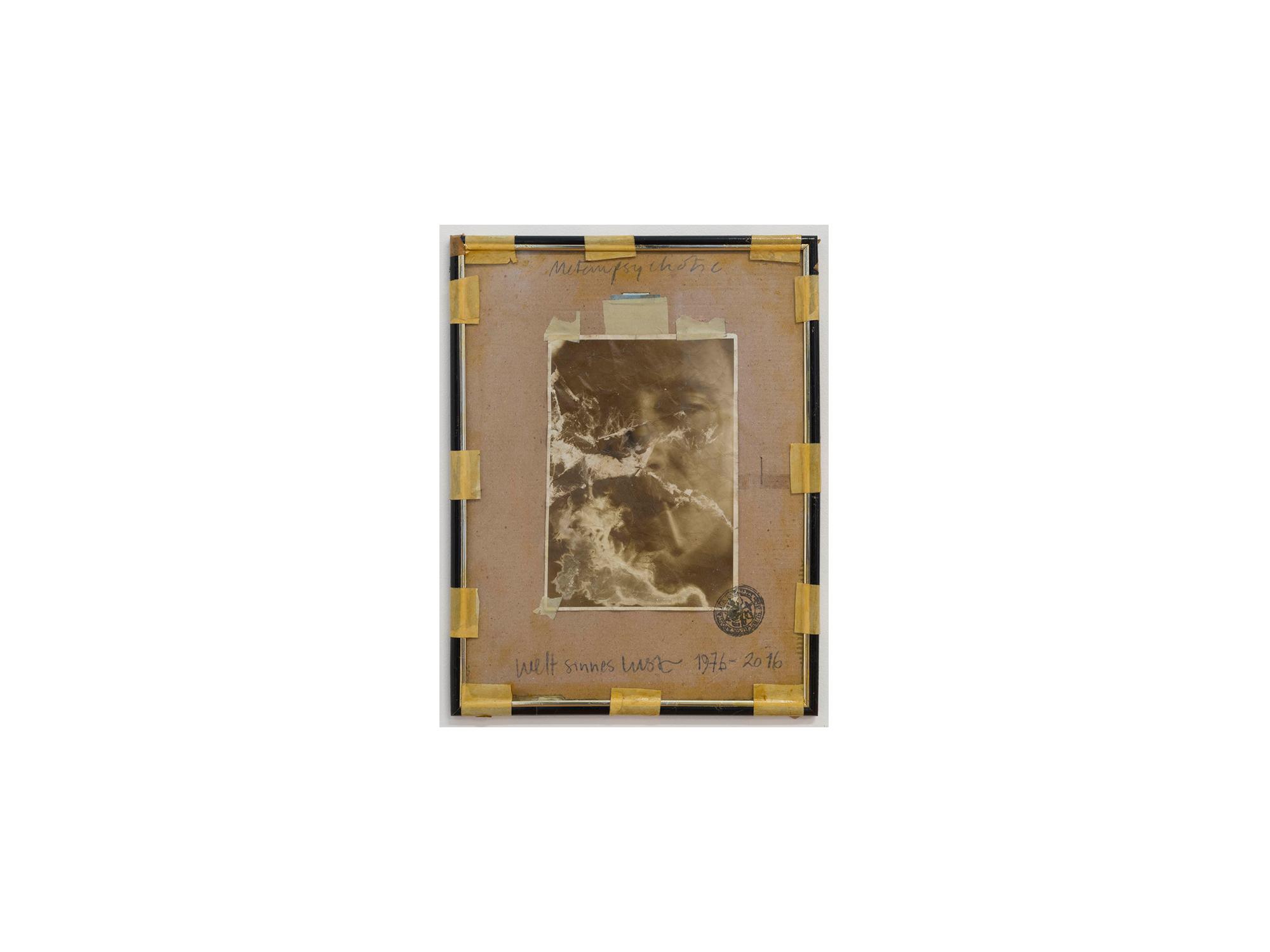 Bernhard Sachs   Metempsychotic , 2016 mixed media on photograph on framed paper 36 x 27cm   ARTIST BIO