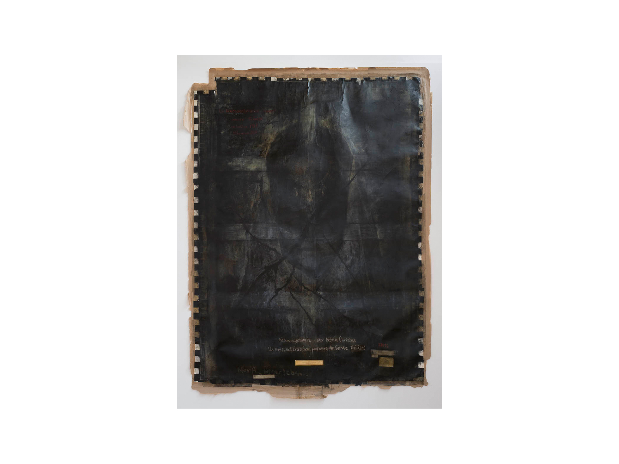 Bernhard Sachs   Metempsychosis After Petrus Christus (La trasverberation pervers de Sainte Therese) Manhattan 1994 - Melbourne 2016 , 2016 charcoal, acrylic on paper 290 x 212c   ARTIST BIO