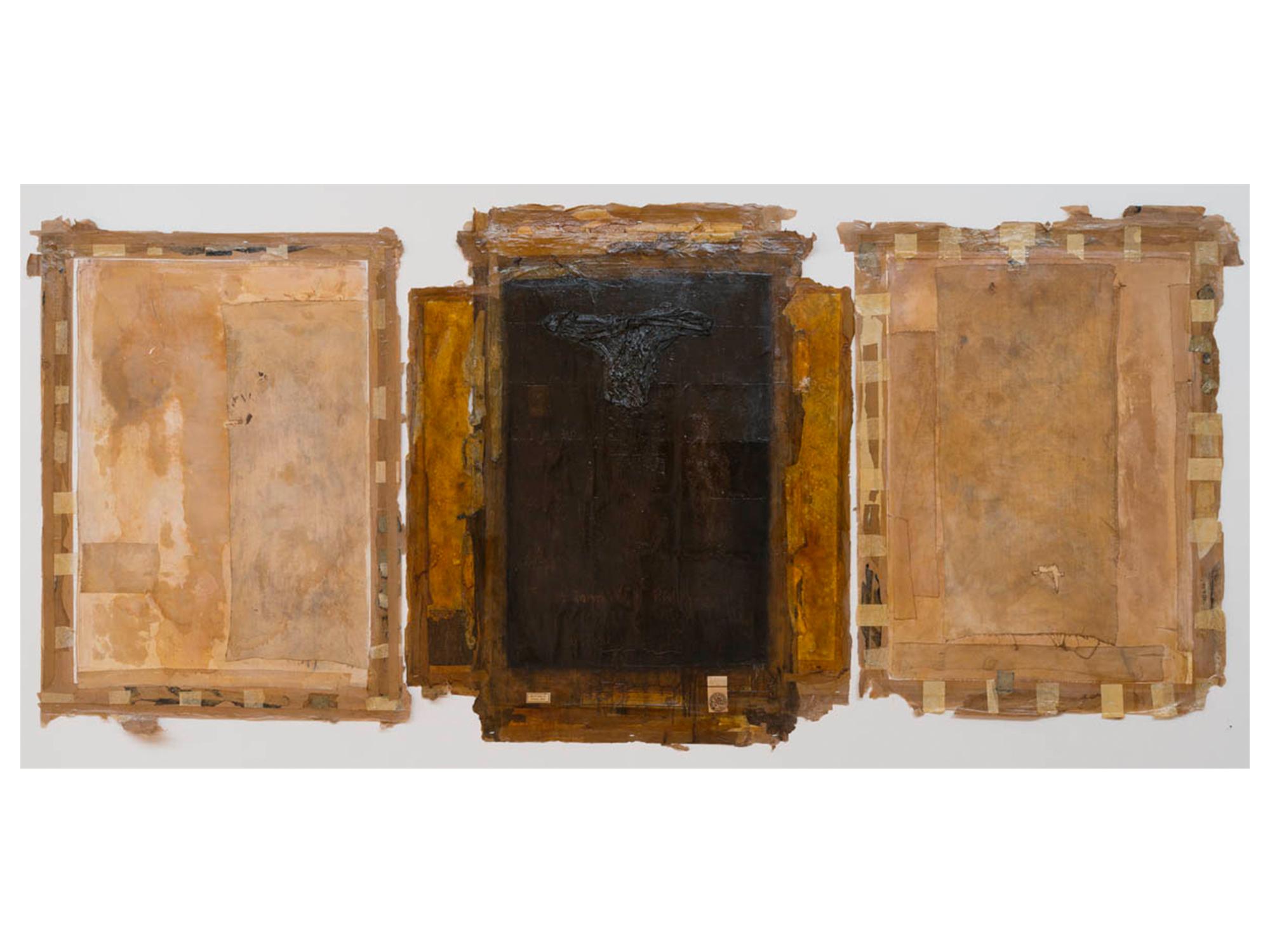 Bernard Sachs   St John of Patmos (After Heironymous Bosch) , 2016 triptych. mixed media on paper 125 x 265cm   ARTIST BIO