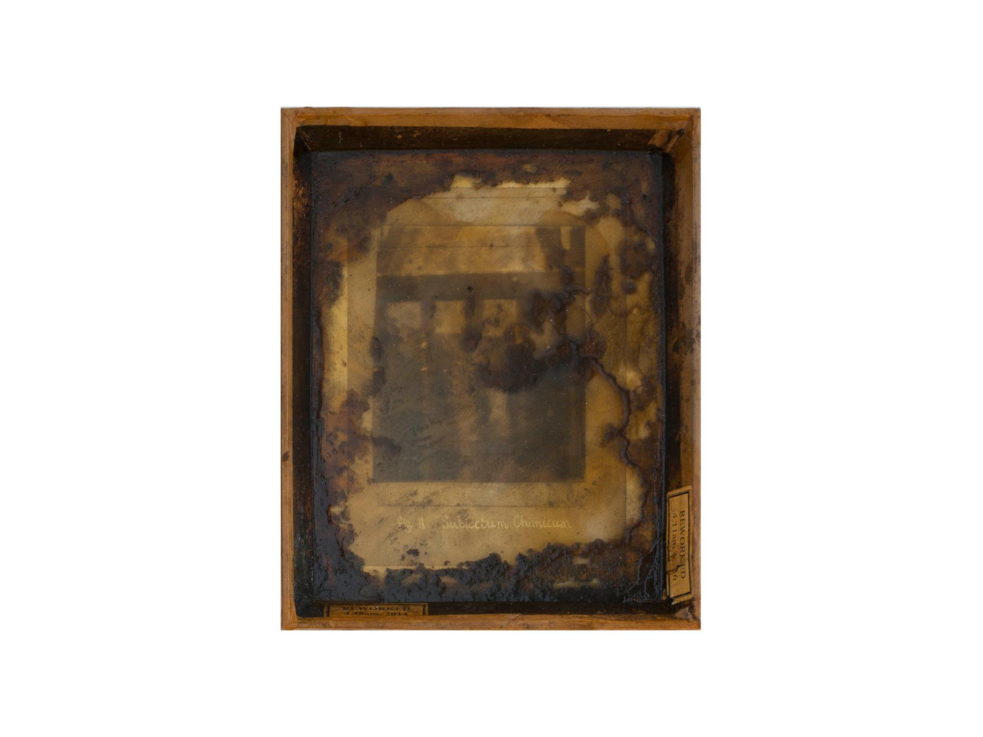 Bernard Sachs   Subiectum Chimicum , 2016 mixed media on photo on framed card 25.5 x 21cm   ARTIST BIO