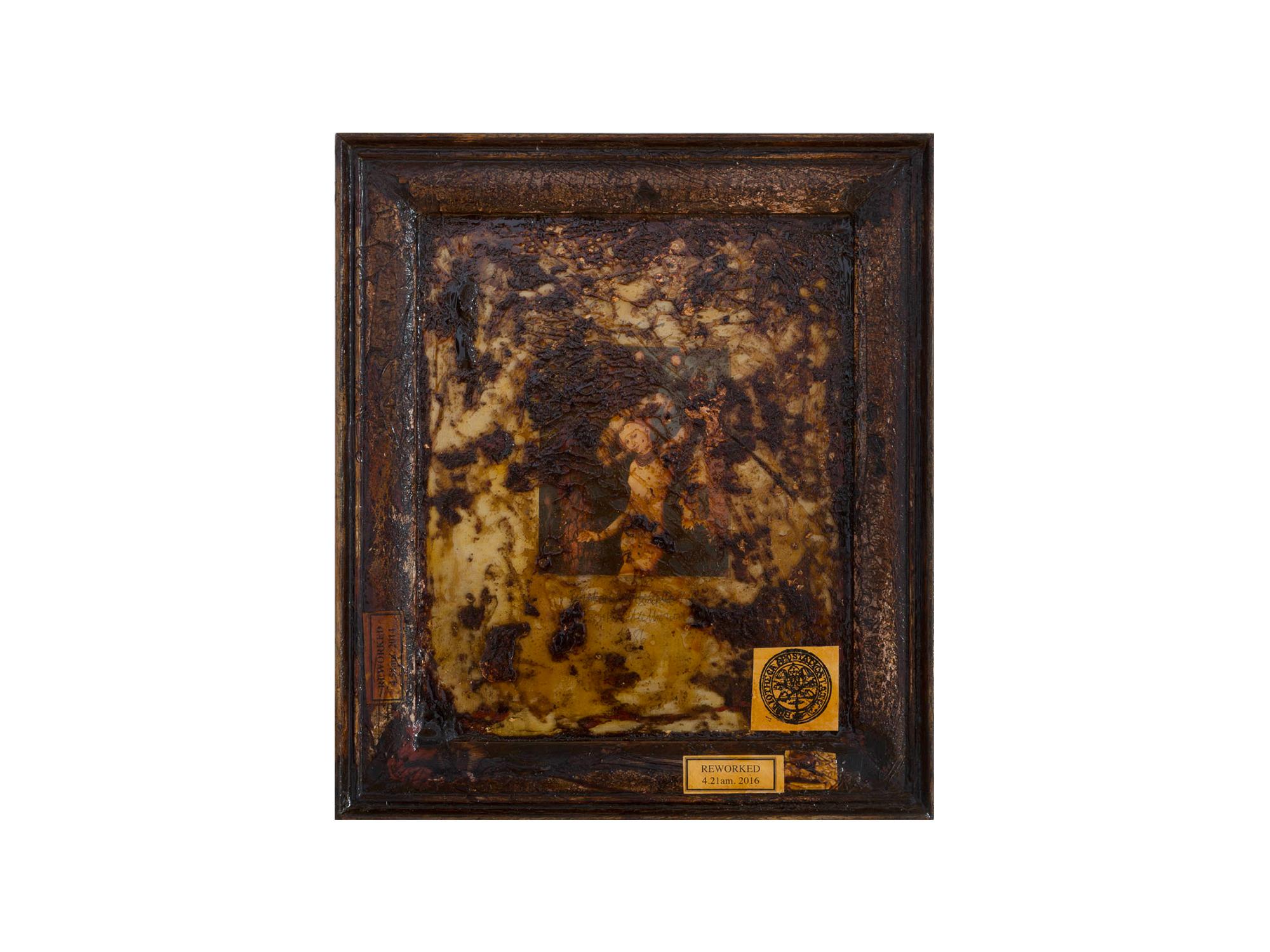 Bernard Sachs   Honey Thieves (detail after Cranach) , 2016 print and mixed media on framed card 38 x 33cm   ARTIST BIO