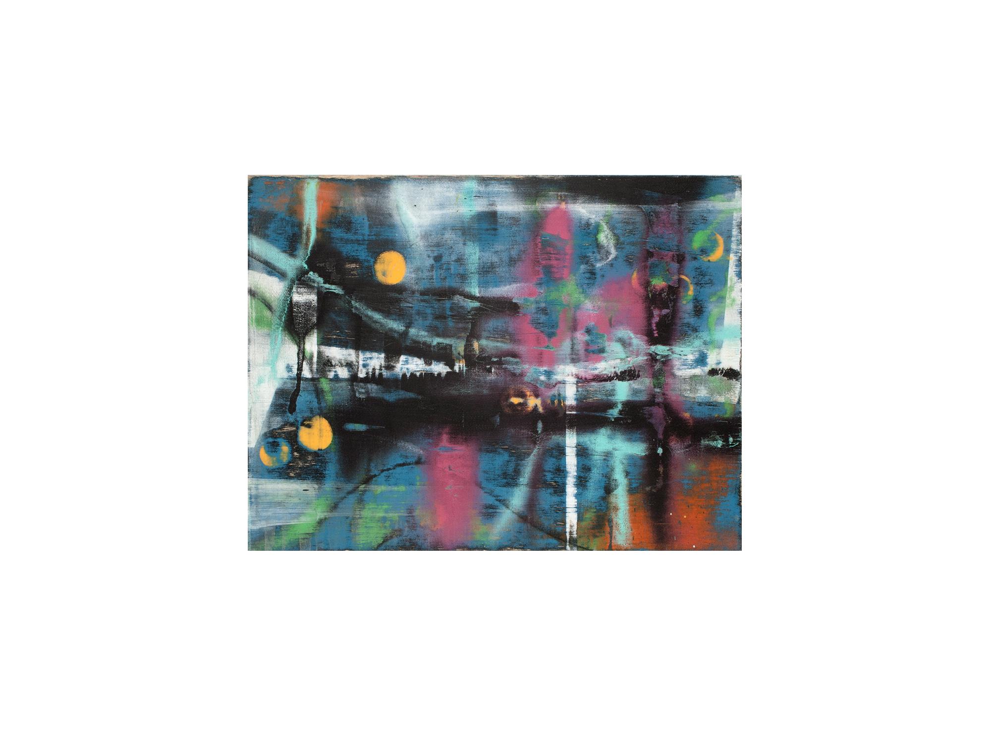Brett McMahon   KL City 4 , 2017 acrylic and enamel on ply panel 60 x 80cm   ARTIST BIO