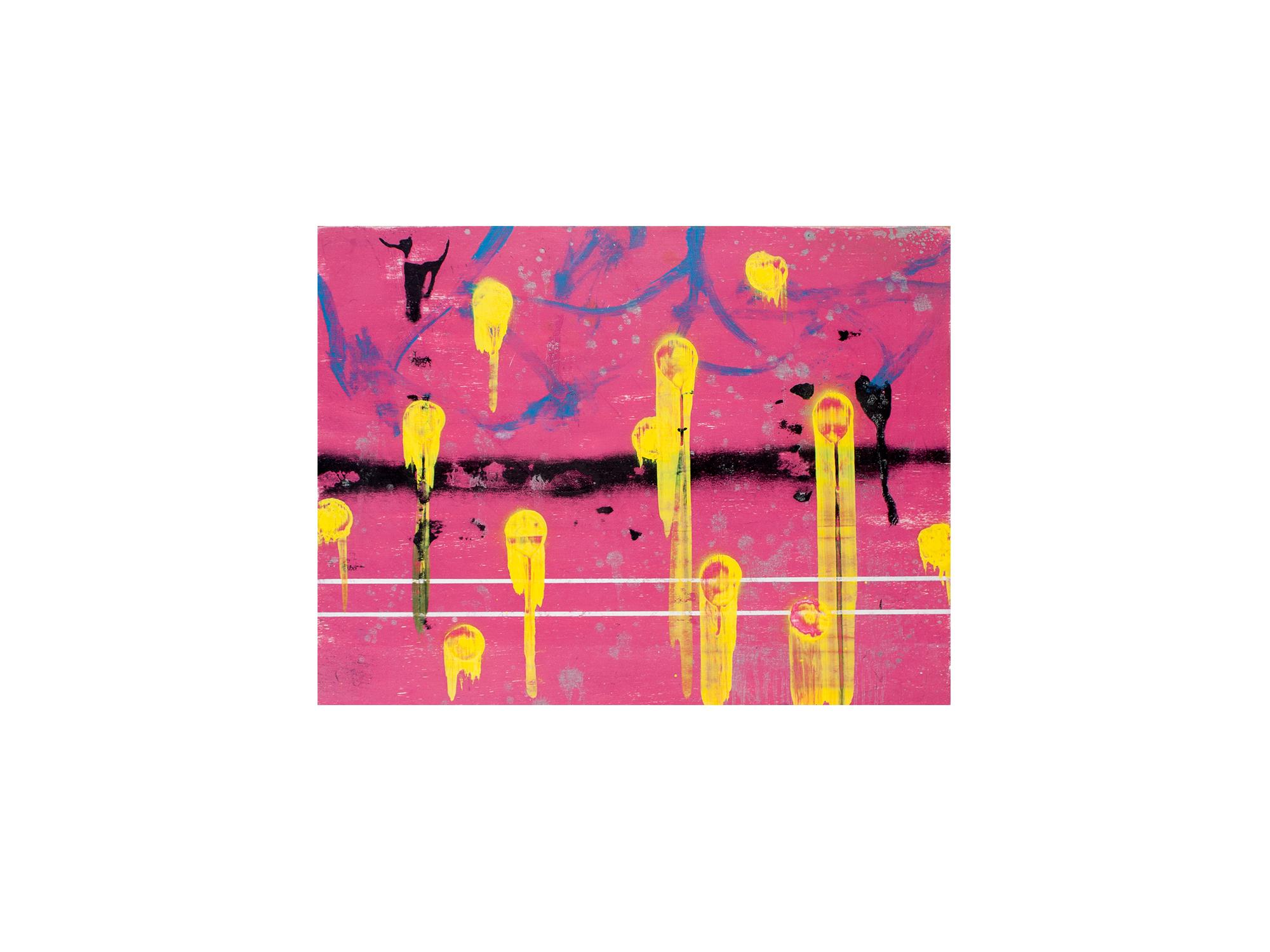 Brett McMahon   KL City 5 , 2017 acrylic and enamel on ply panel 60 x 80cm   ARTIST BIO