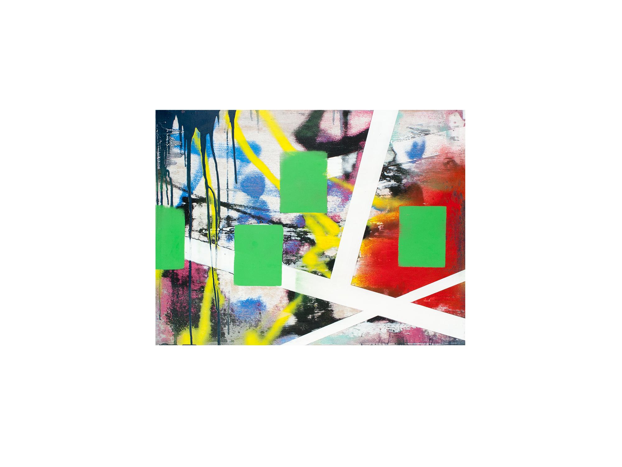 Brett McMahon   KL City 8 , 2017 acrylic and enamel on ply panel 60 x 80cm   ARTIST BIO
