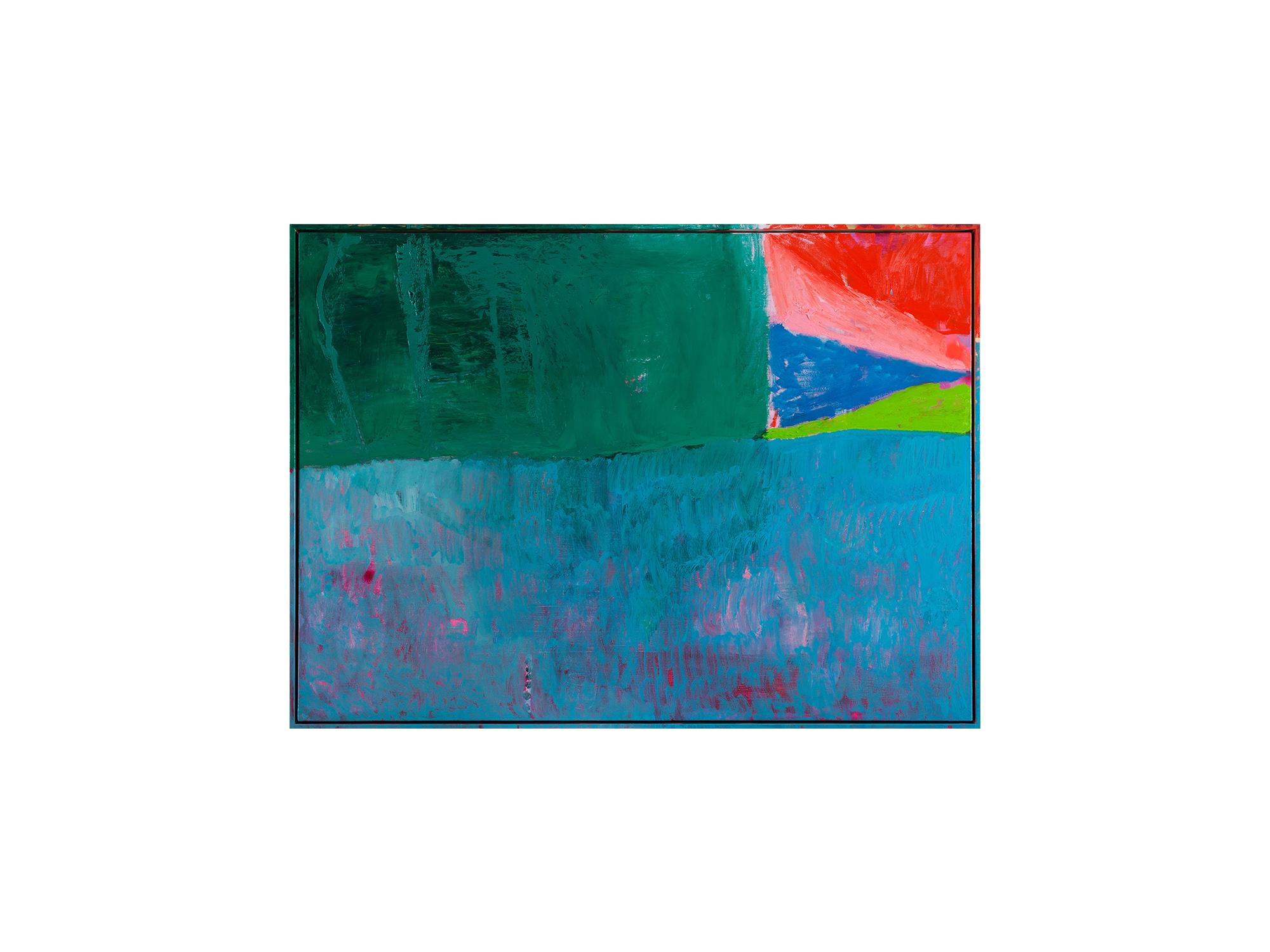 Miranda Skoczek   Rug Flag Rug , 2017 oil and enamel spray paint on linen 95 x 125cm framed