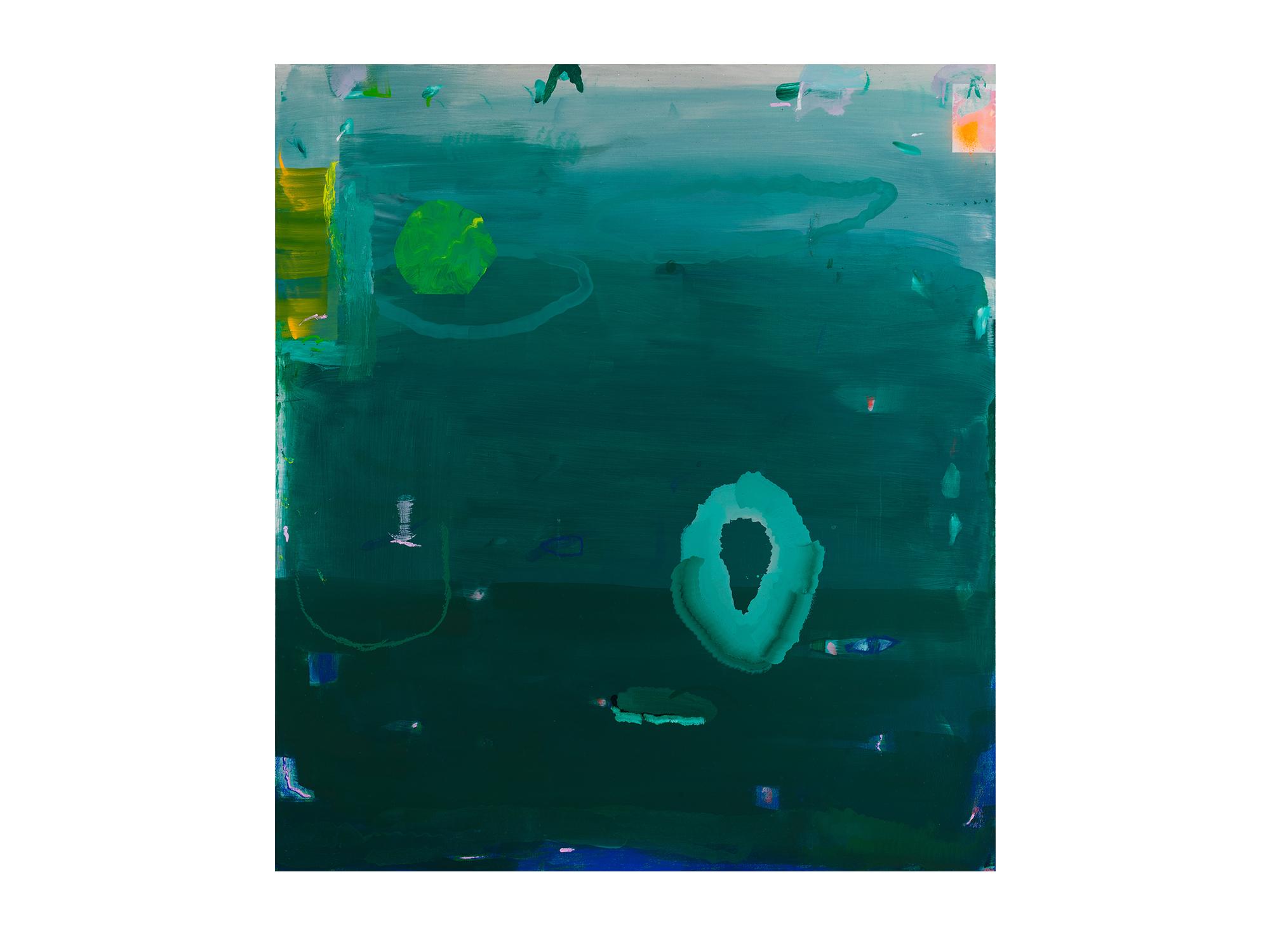 Miranda Skoczek   A River Moving in Me,  2017 oil and enamel spray paint on linen 156 x 140cm framed
