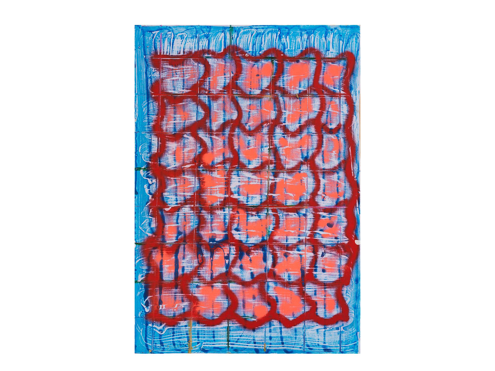 Tom Vincent   Human Grid , 2017 acrylic, aerosol and paper on board 60 x 90cm   ARTIST BIO