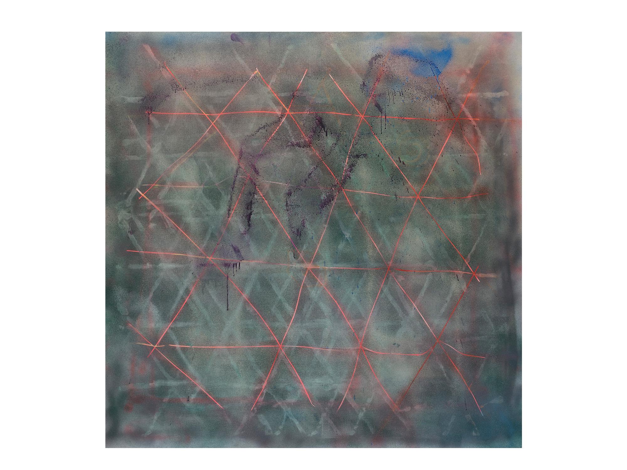 Tom Vincent   Source View I , 2017 acrylic, aerosol, selenite and quartz on board 152 x 152cm   ARTIST BIO