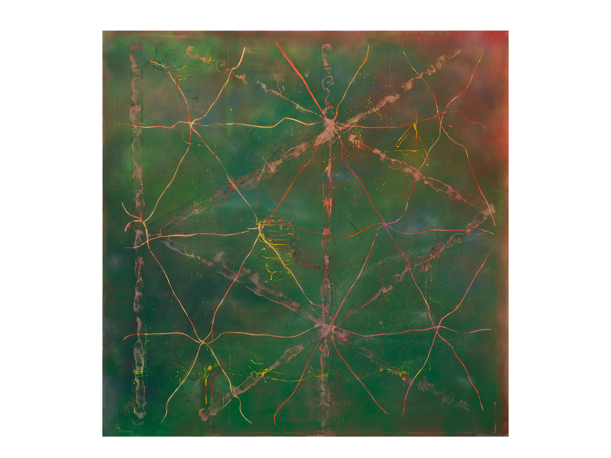 Tom Vincent   Source View II , 2017 acrylic, aerosol, selenite and quartz on board 152 x 152cm   ARTIST BIO