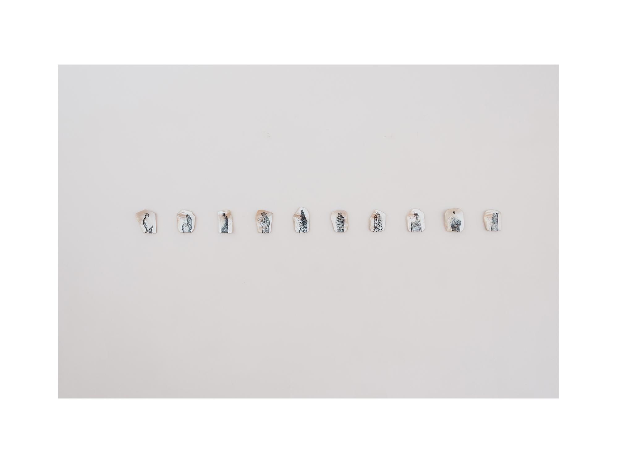Stephen Eastaugh   Nature Morte / Aqua Vita (Mini Bar),  2016 etched pearl shells and acrylic 13 x 13cm each   ARTIST BIO