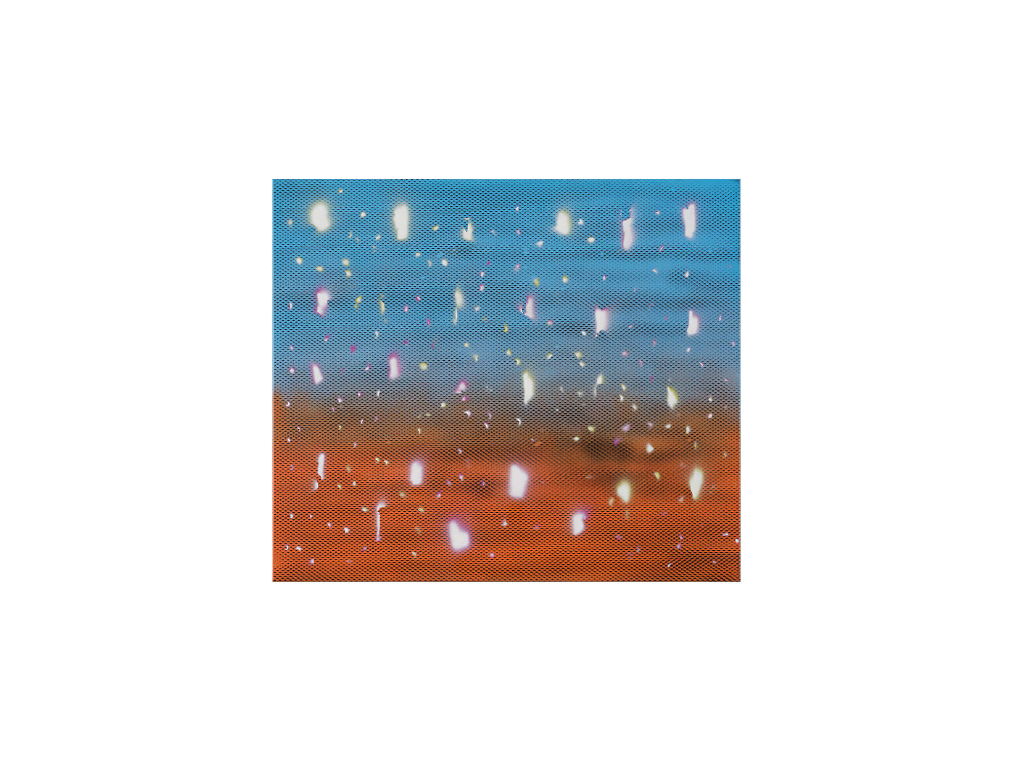 Steven Asquith   Sky Blue & Orange_Puncture Marks , 2017 spray acrylic on canvas 61 x 71cm   ARTIST BIO
