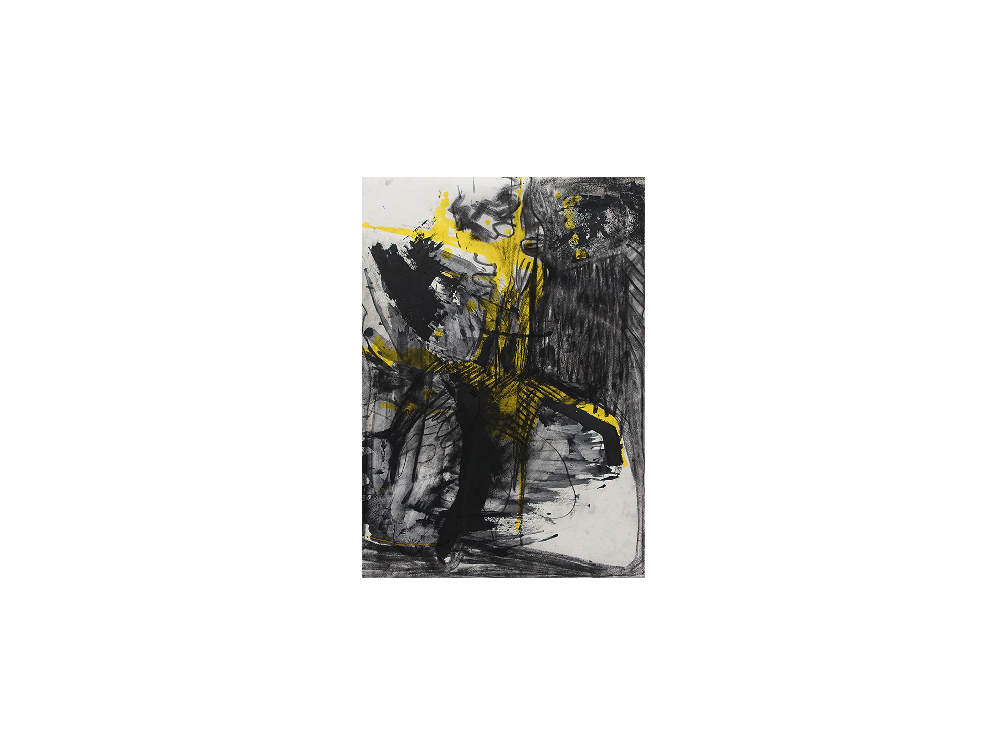 Georgia Biggs   Yellow Splatter , 2017 charcoal, ink and oil on paper 75 x 66 cm