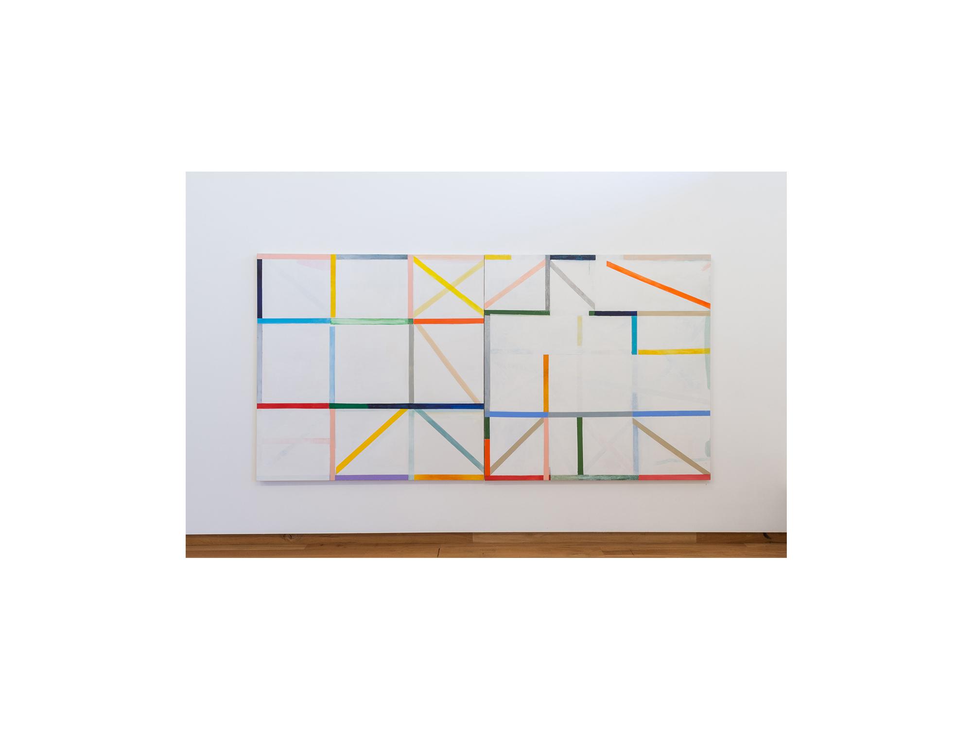 Antonia Sellbach   Modular Wall Piece 32 , 2016 acrylic polymer on linen 1.5 m x 3m