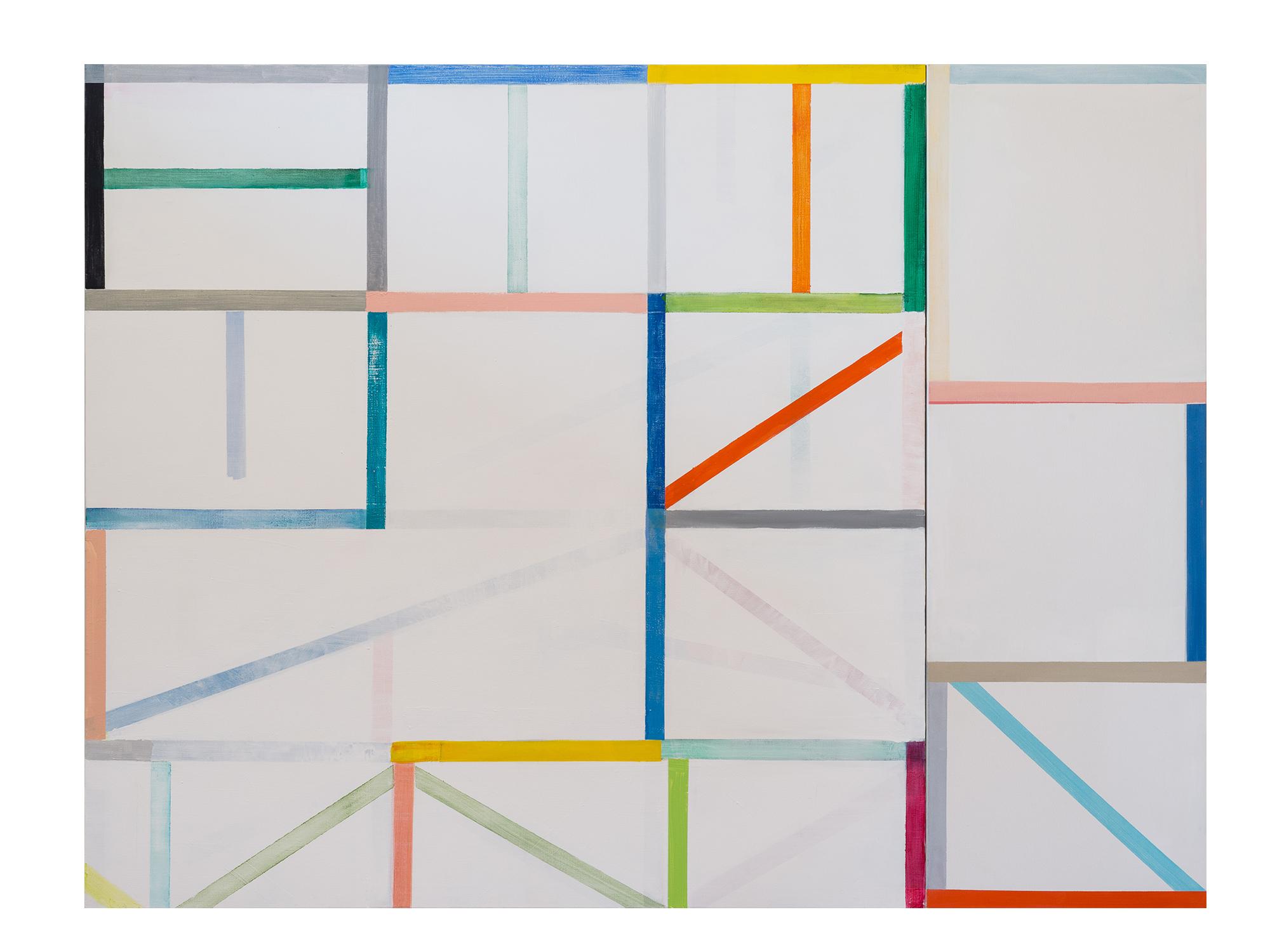 Antonia Sellbach   Modular Wall Piece 33 (2 parts)  , 2016 acrylic polymer on linen 150 x 200cm