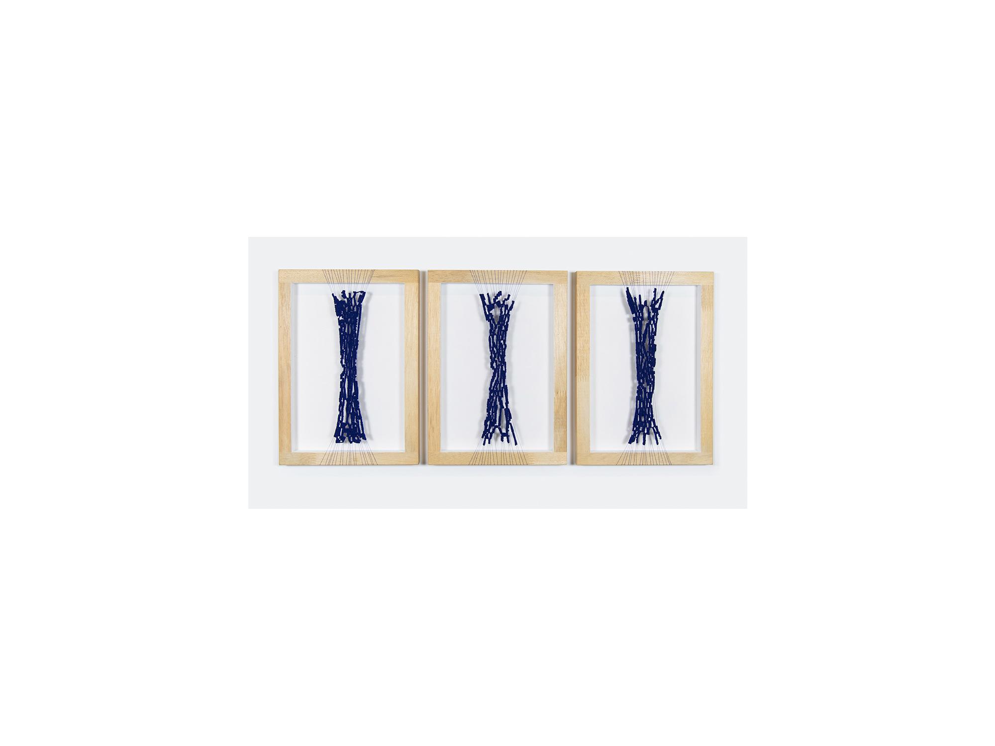 Dana Harris   unfinished seams l, II & III , 2017 cotton, acrylic, wooden frame each: 29.7 x 21cm