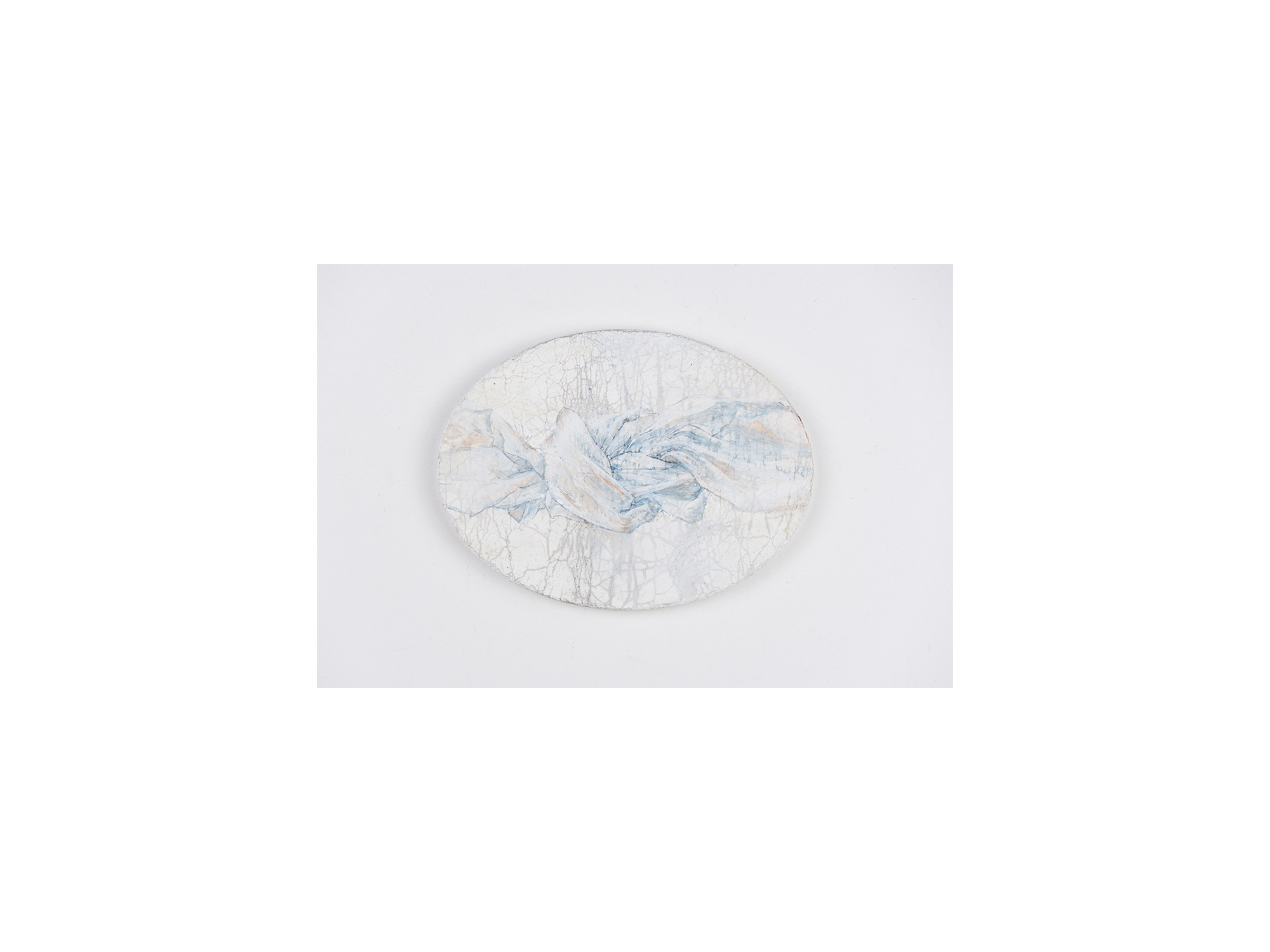 Sarah Tomasetti   Cloud Knot I , 2018 oil and encaustic on fresco plaster 13.5 x 18cm