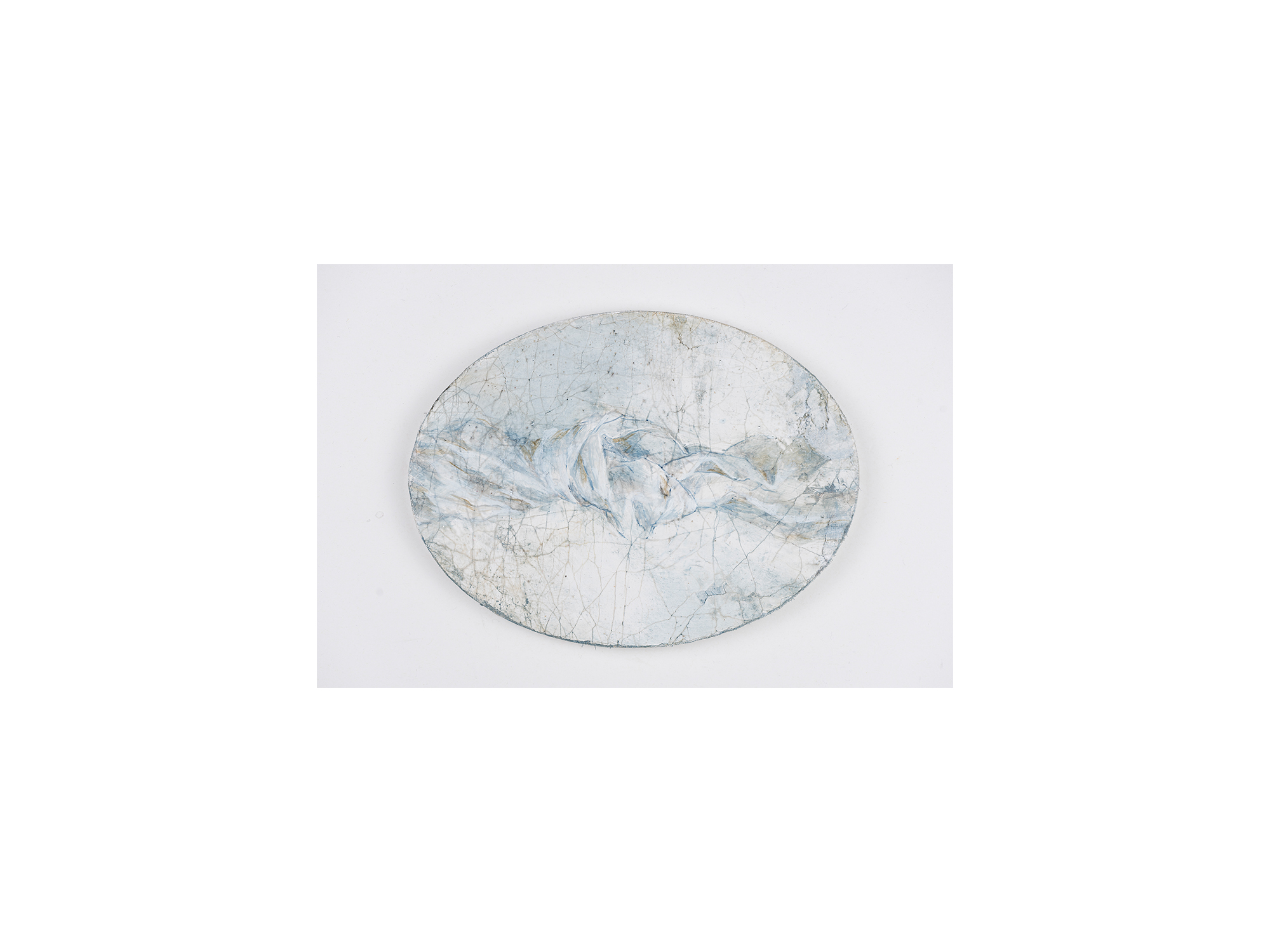 Sarah Tomasetti   Cloud Knot II , 2018 oil and encaustic on fresco plaster 16 x 21cm
