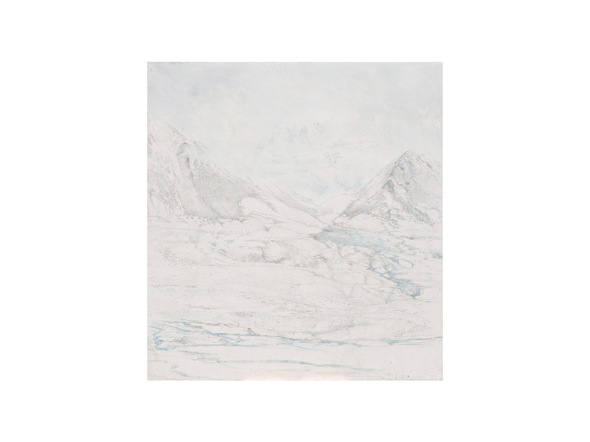 Sarah Tomasetti   Through the Pass , 2018 oil on fresco plaster, on muslin 142 x 132cm