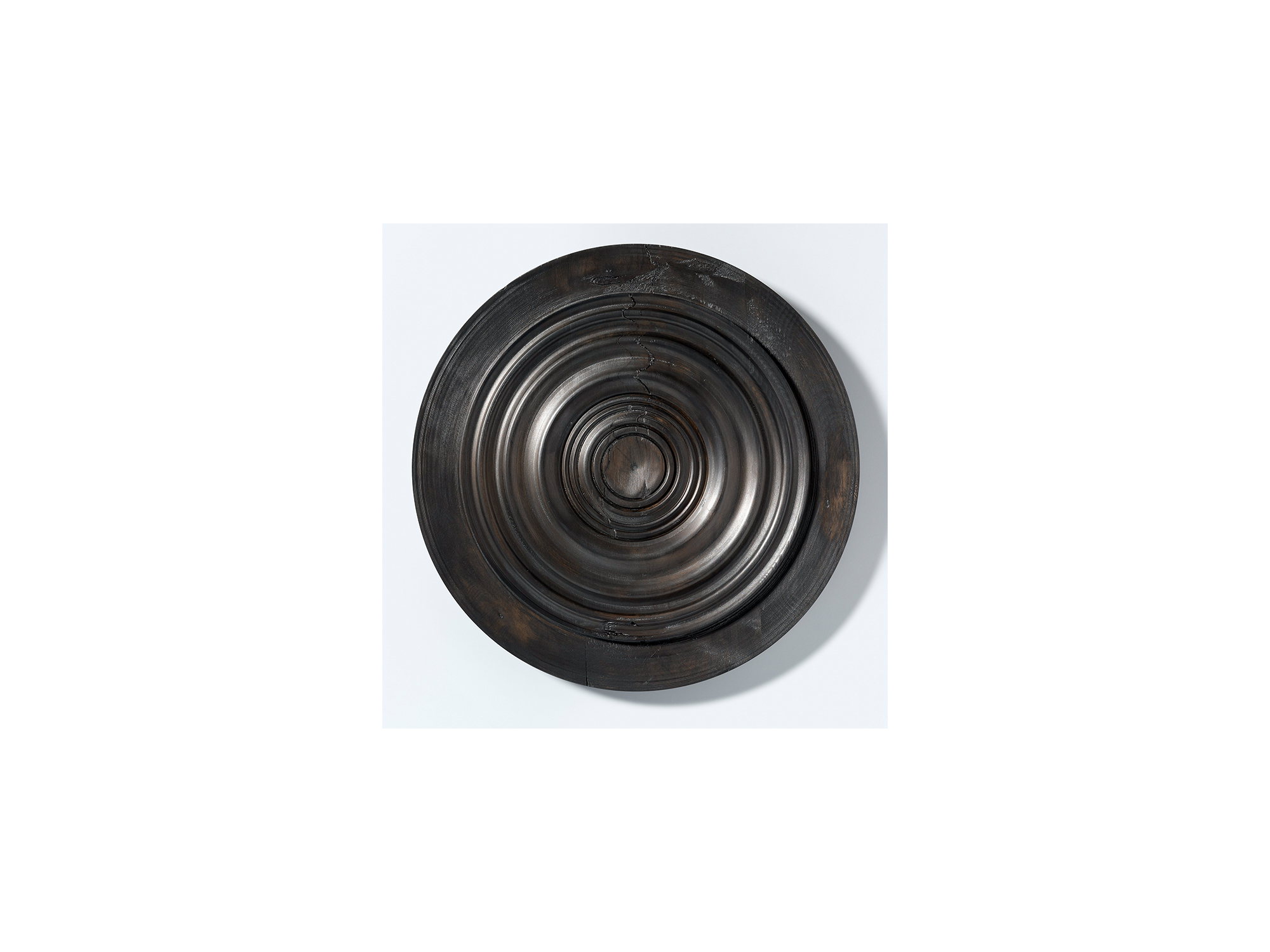 Jo Wilson   Milled/RJW#2 , 2018 reclaimed pine, pigment and Danish oil 50cm diameter x 5cm