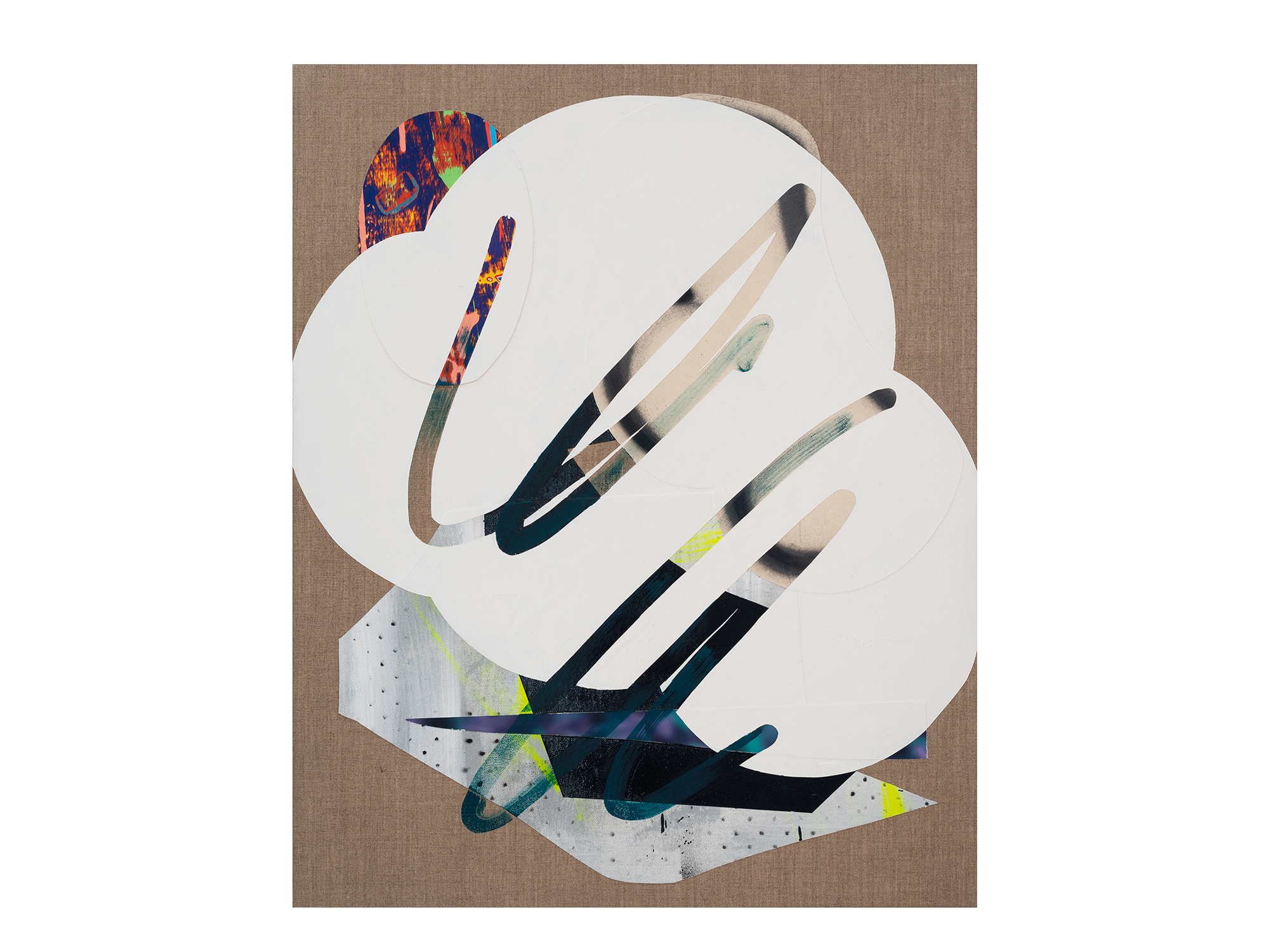 Marc Freeman   Cloudbuster #18 , 2018 canvas, acrylic, enamel and digital-print on linen 80 x 65.5cm   ARTIST BIO