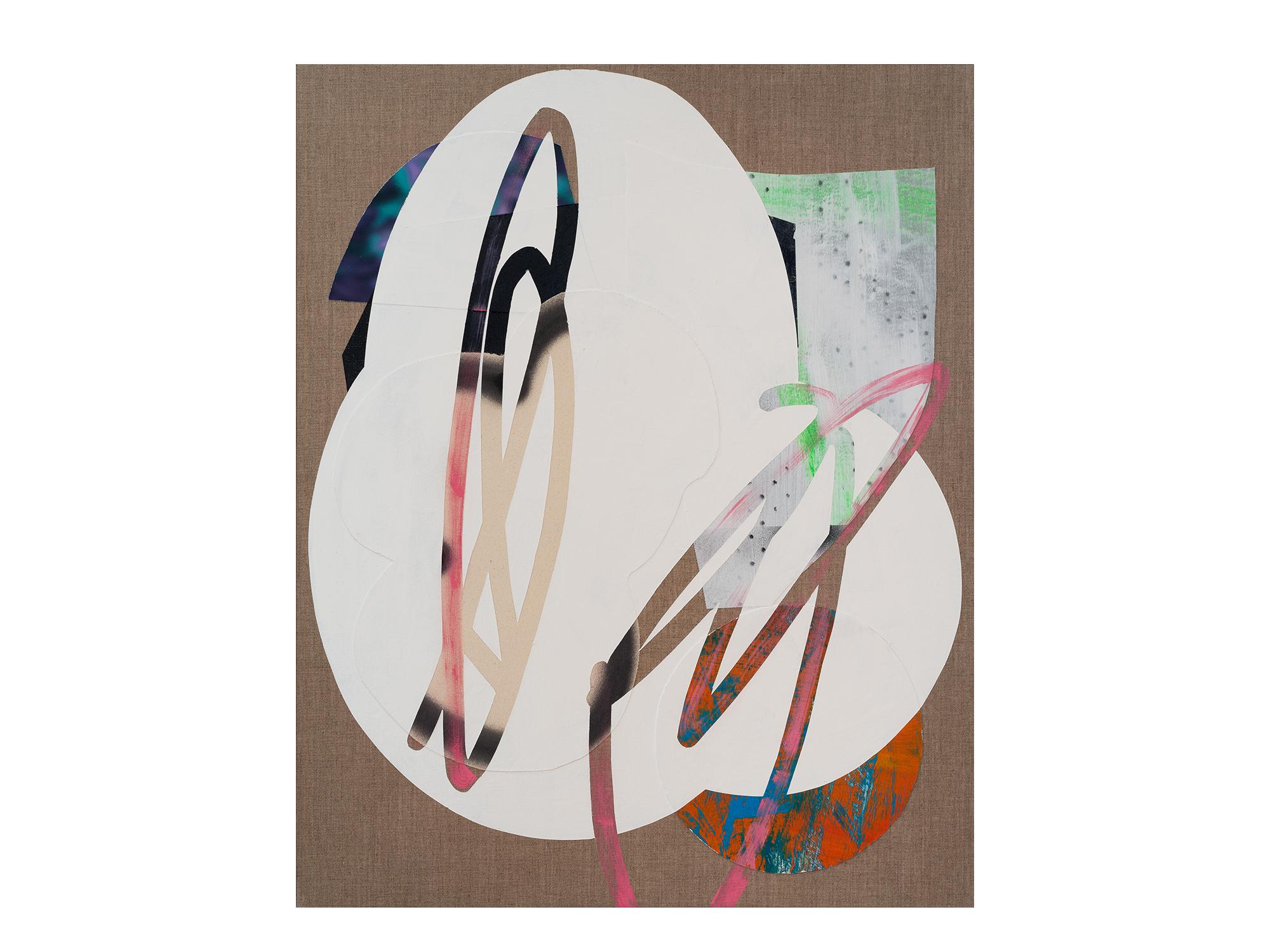 Marc Freeman   Cloudbuster #19 , 2018 canvas, acrylic, enamel and digital-print on linen 80 x 65.5cm   ARTIST BIO