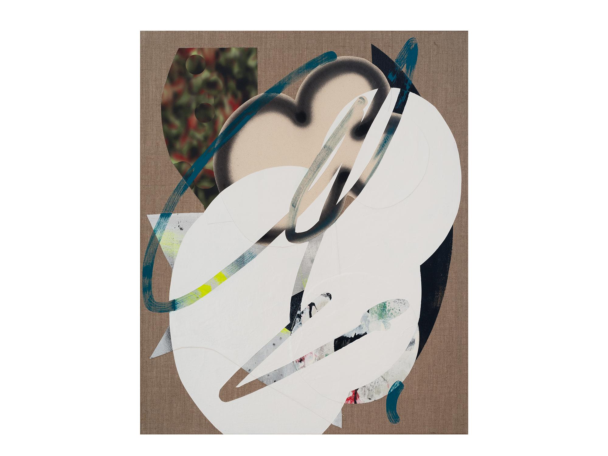 Marc Freeman   Cloudbuster #20 , 2018 canvas, acrylic, enamel and digital-print on linen 80 x 65.5cm   ARTIST BIO