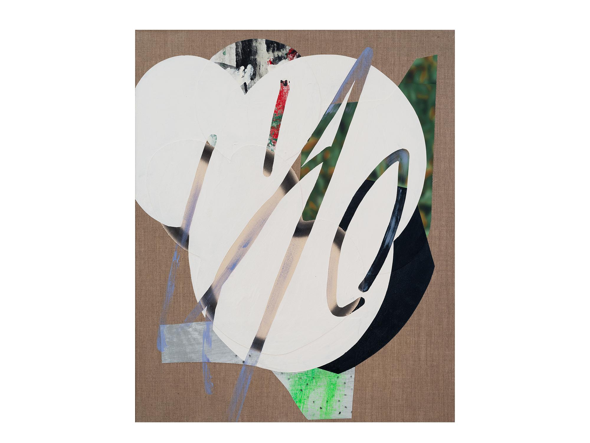 Marc Freeman   Cloudbuster #17 , 2018 canvas, acrylic, enamel and digital-print on linen 80 x 65.5cm   ARTIST BIO