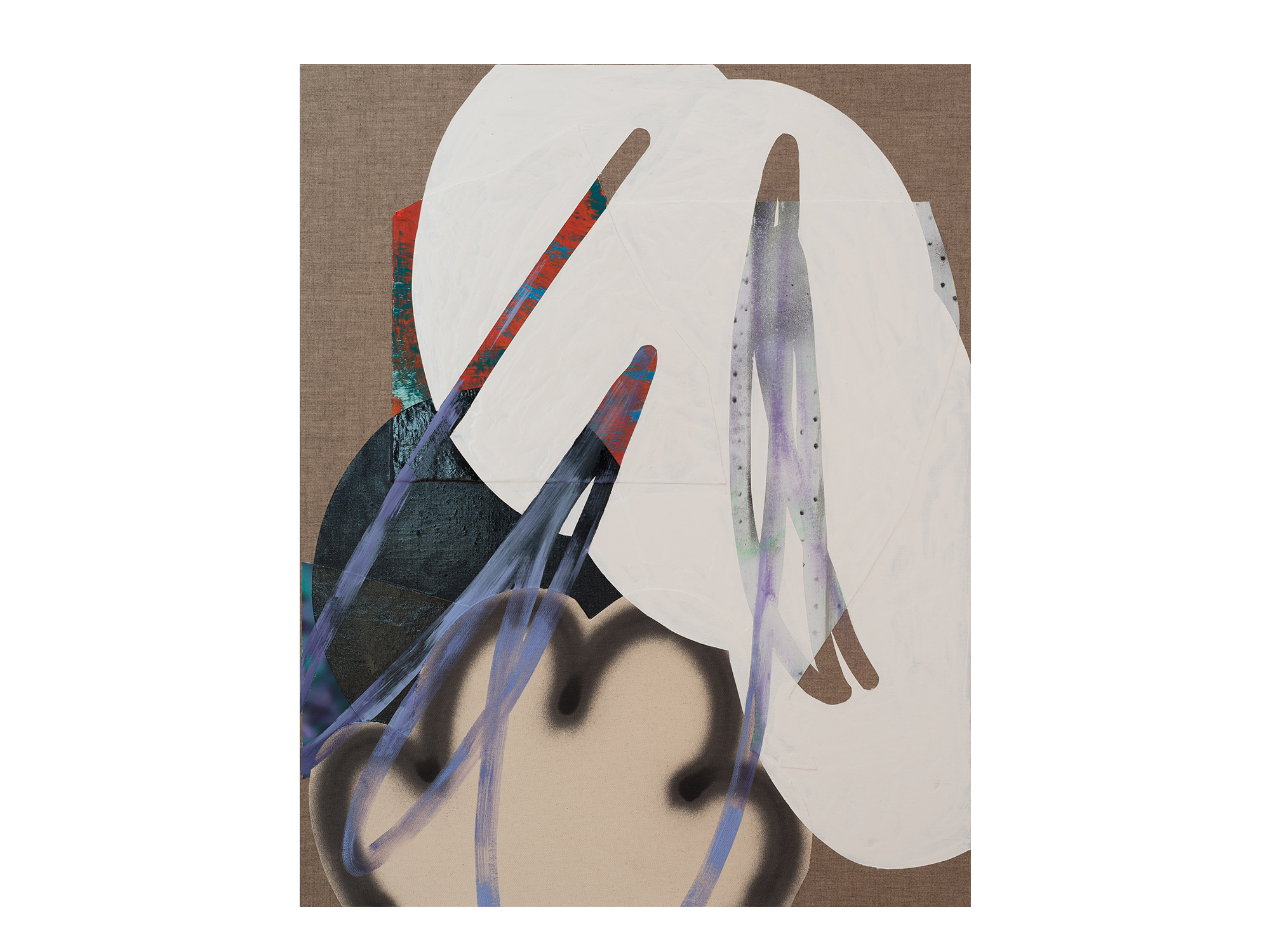 Marc Freeman   Cloudbuster #8 , 2018 canvas, acrylic, enamel and digital-print on linen 80 x 65.5cm   ARTIST BIO