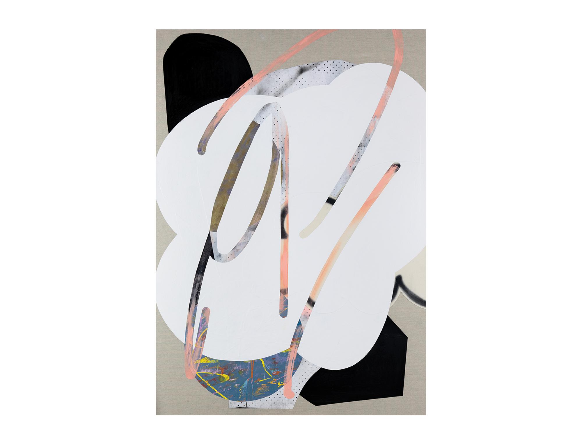 Marc Freeman   Cloudbuster #21 , 2018 canvas, acrylic, enamel and digital-print on linen 170 x 120cm   ARTIST BIO