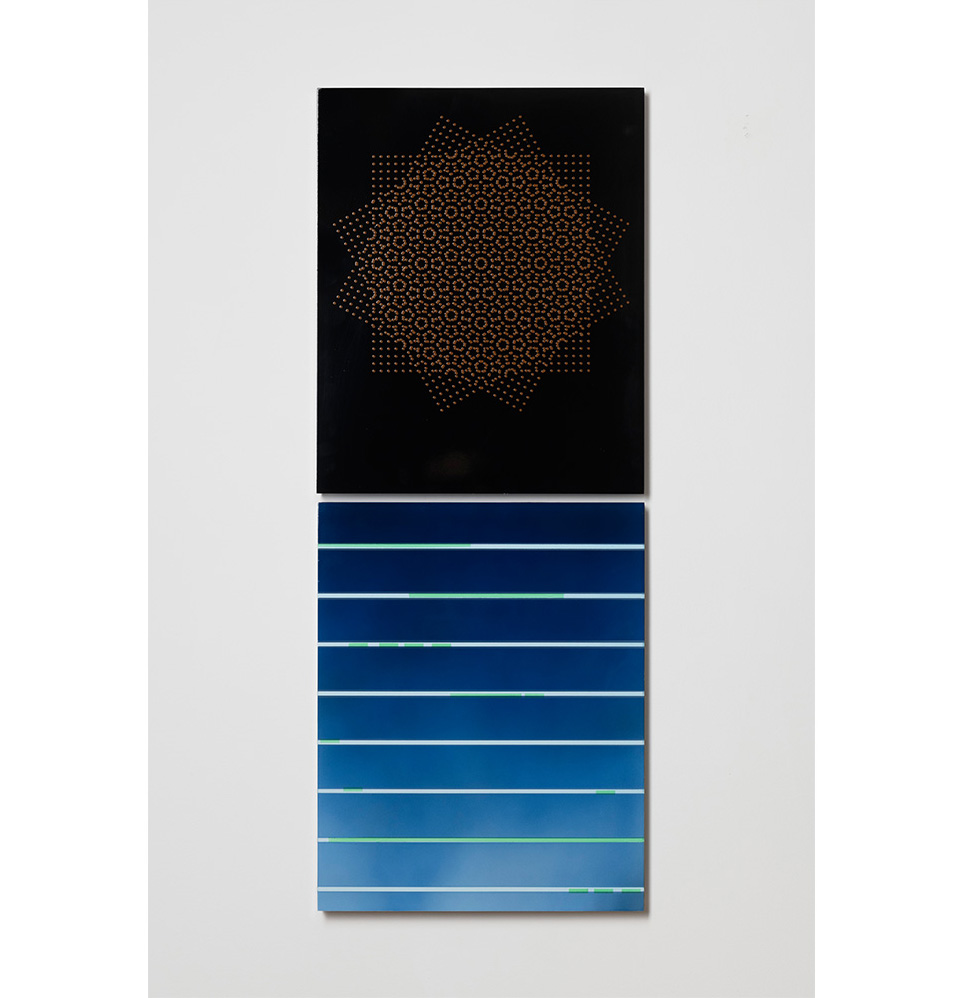 Merric Brettle   The Ritual Process 22  Vertically hung diptych  automotive paint on mdf 42 x 106 cm