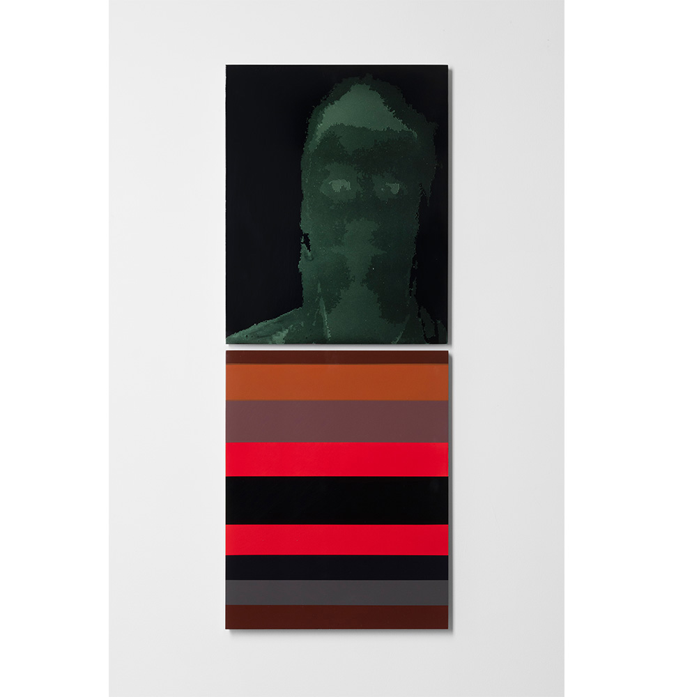 Merric Brettle   The Ritual Process 19  Vertically hung diptych  automotive paint on mdf 42 x 106 cm