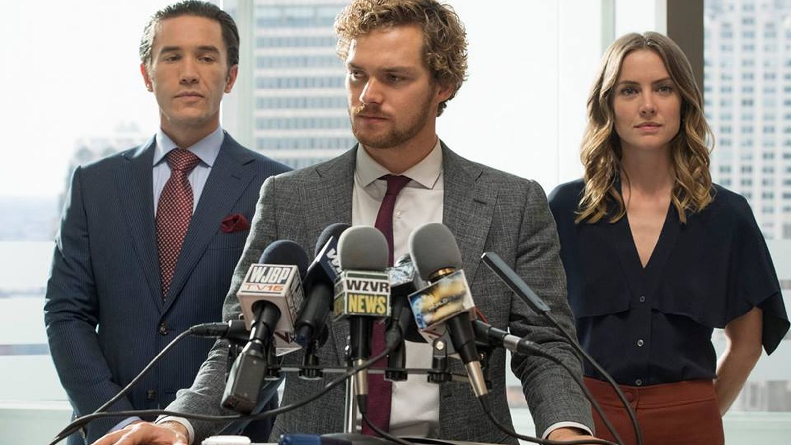 The Meachum siblings holding a press conference shortly after 'accepting' Danny Rand.