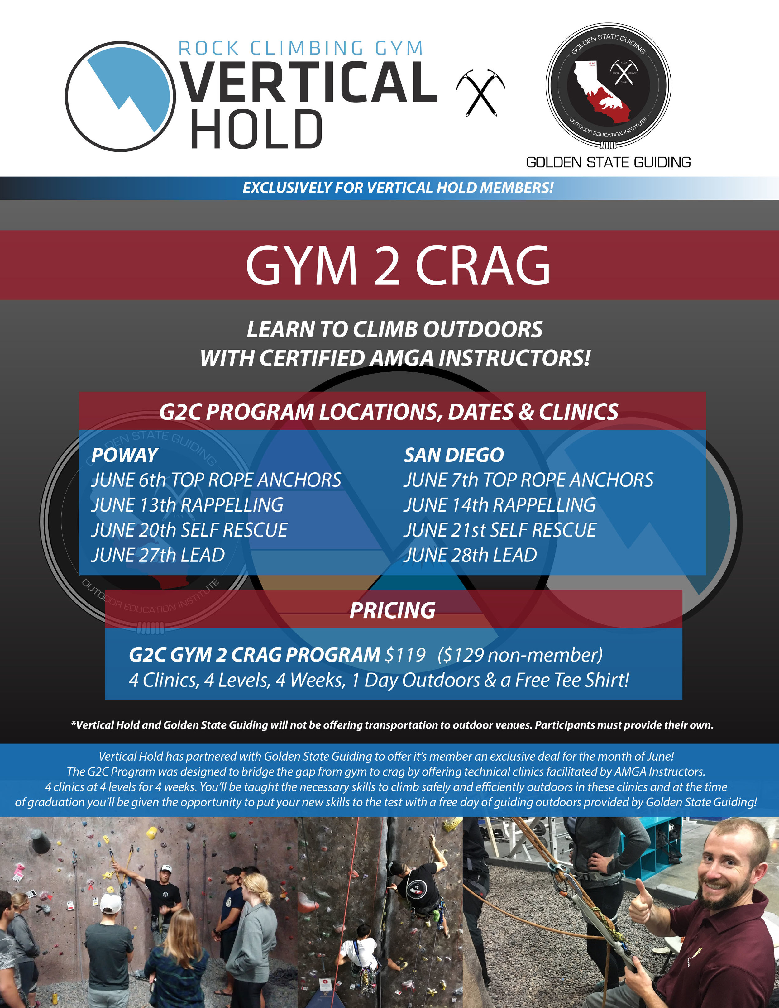 Golden State Guiding G2C Gym to Crag Program
