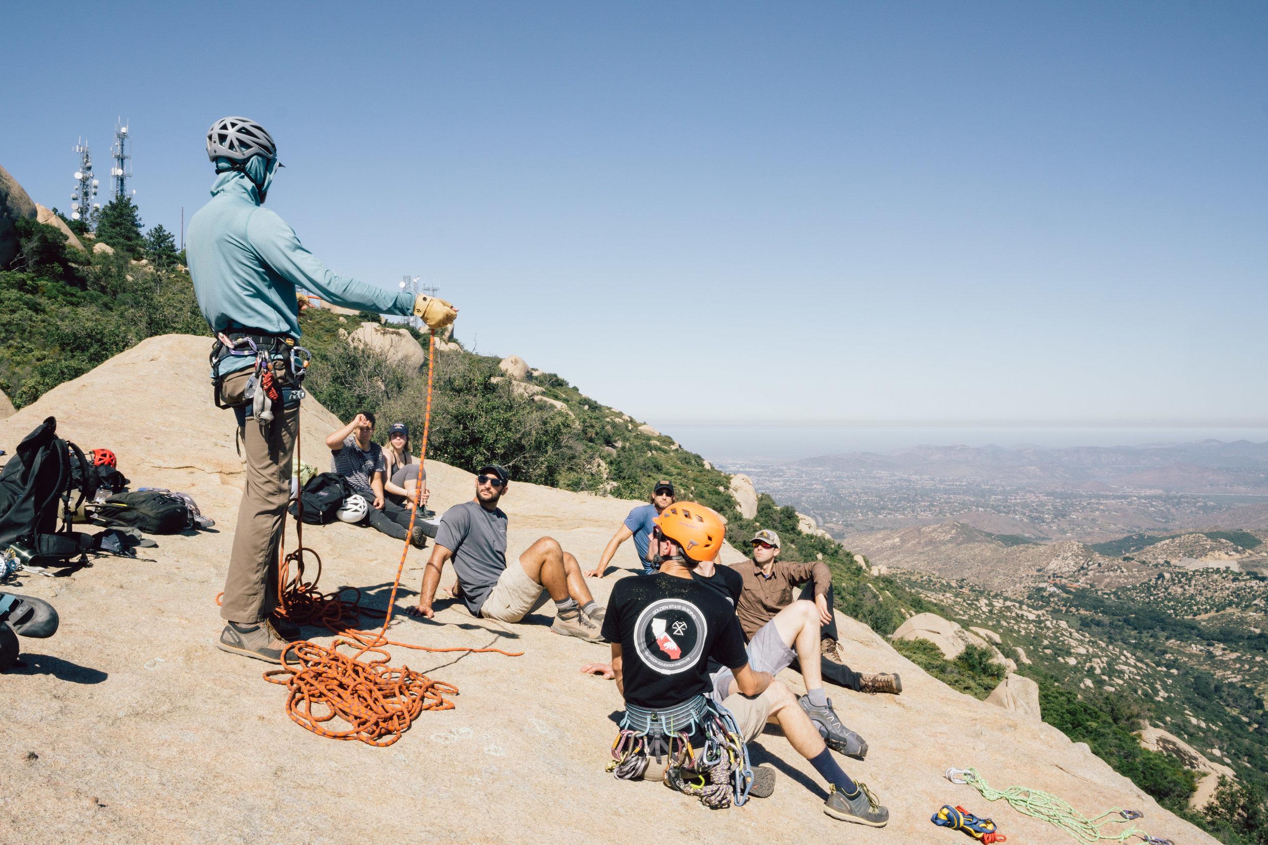 Golden State Guiding Mt. Woodson Rock Climbing Anchor Building