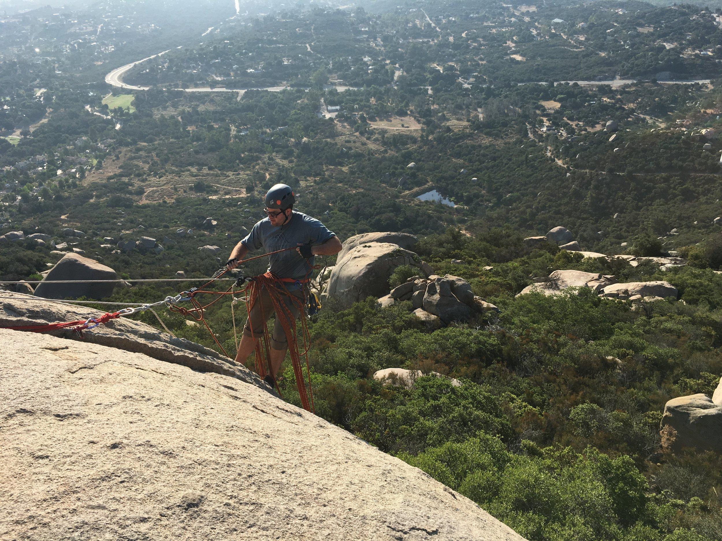Mt. Woodson Sunrise, Elsa's Crack, Southern California Rock Climbing San Diego