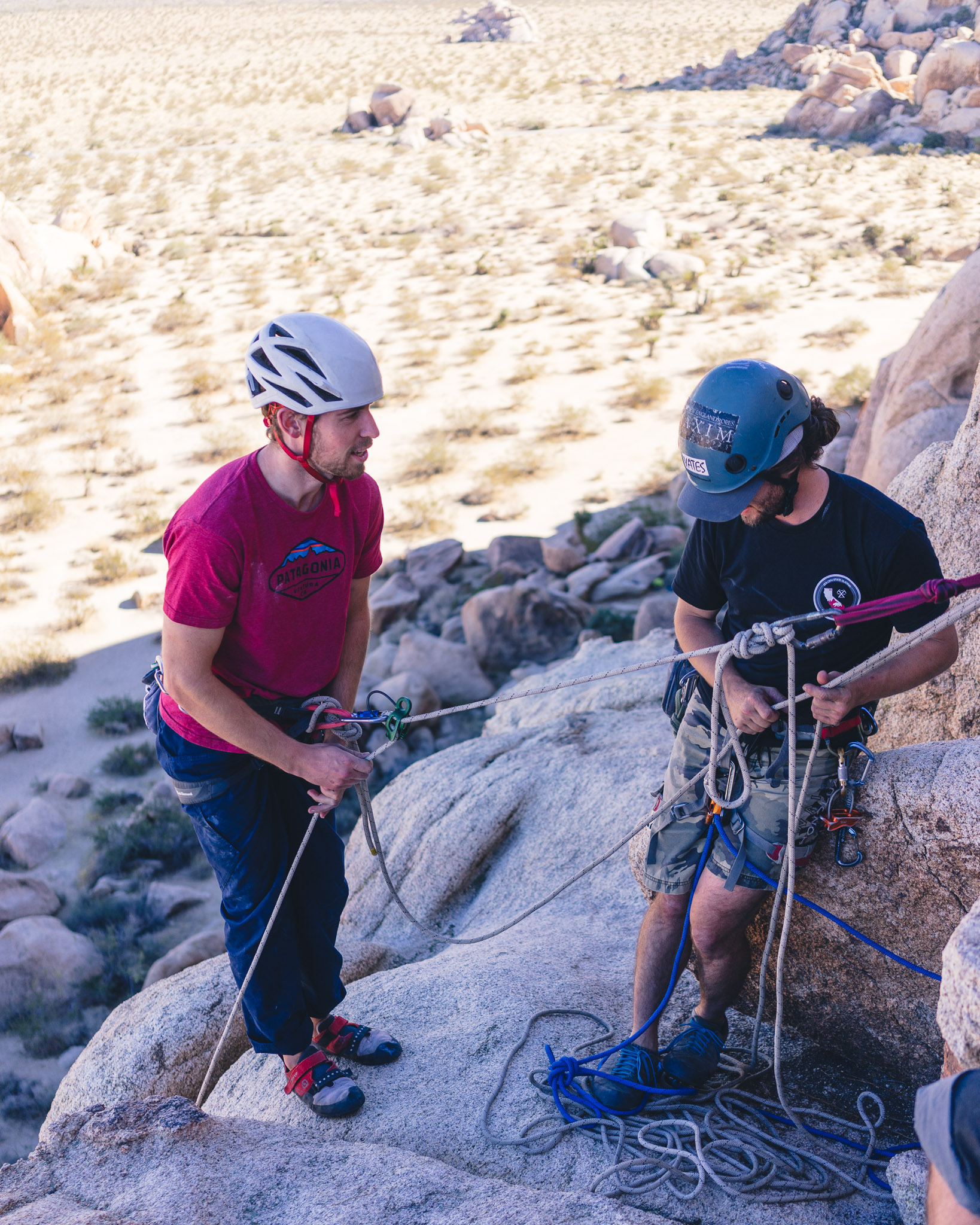 Joshua Tree Rock Climbing Belayed Rappels