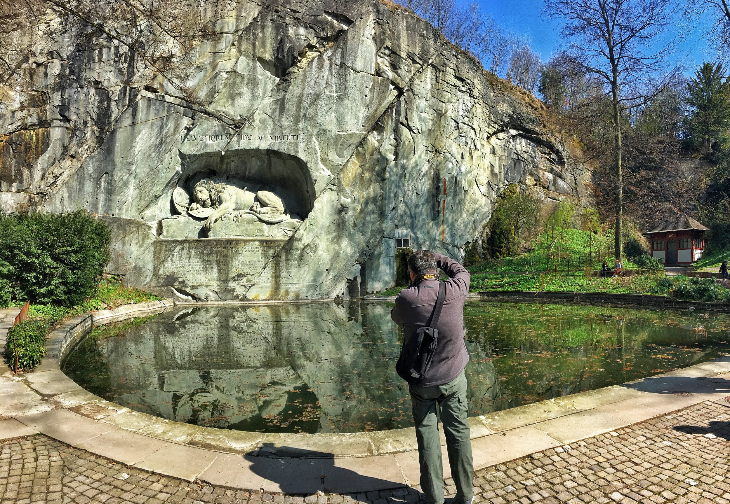 The  Lion Monument  is an impressive sculpture that commemorates the Swiss Guards who died in battle during the French Revolution. And one of my favorite cafes is conveniently located across the street.