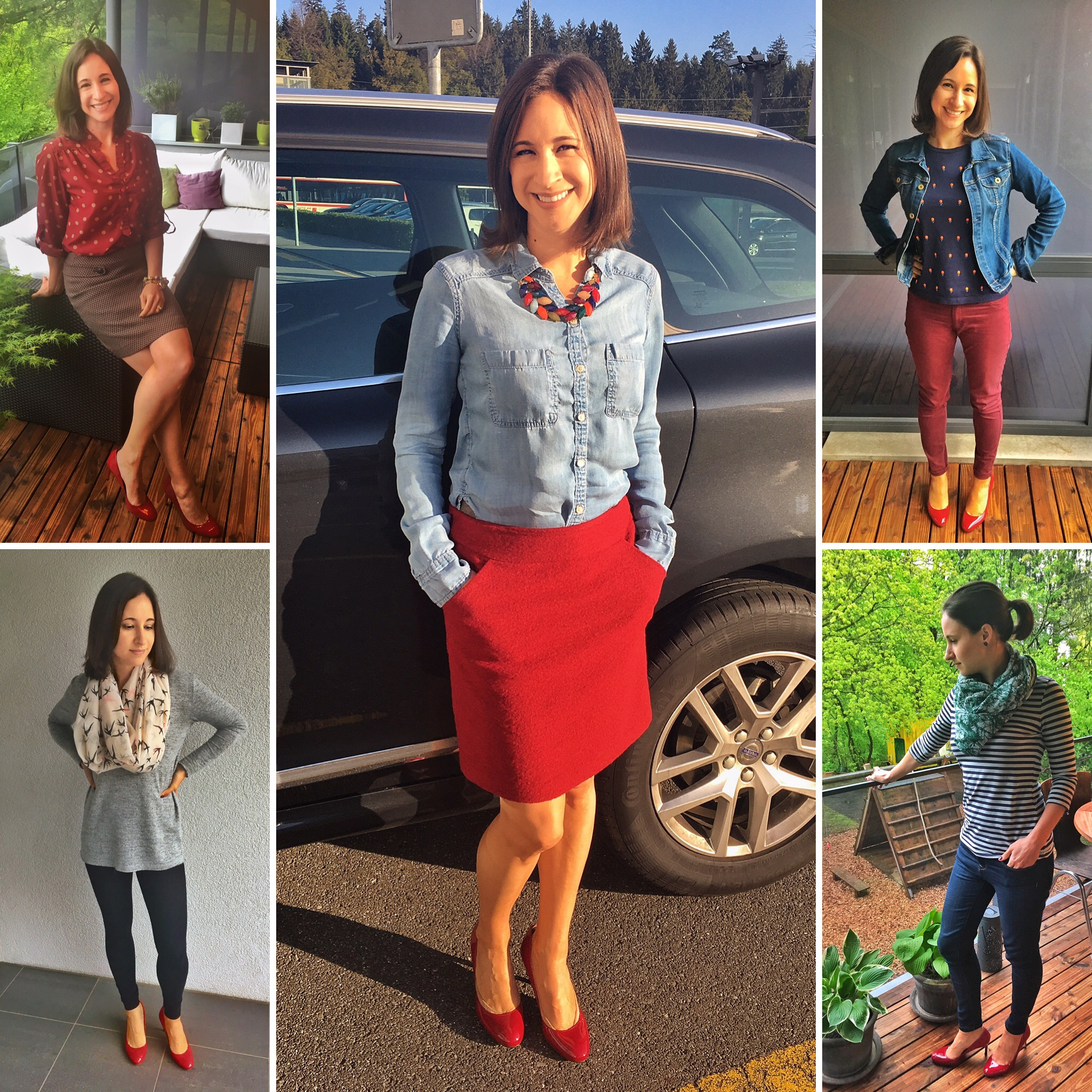 Outfits of the week: Red shoes, 5 ways