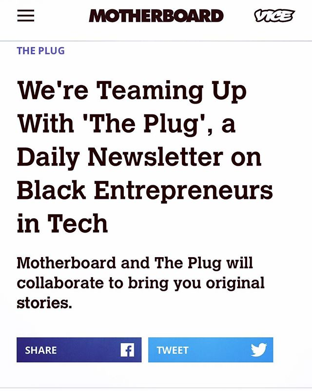 S/O and congrats to BLK Innovator @sherrell_dorsey and The Plug on teaming up with @motherboardvice and @vice #blkinnovators #blacktech