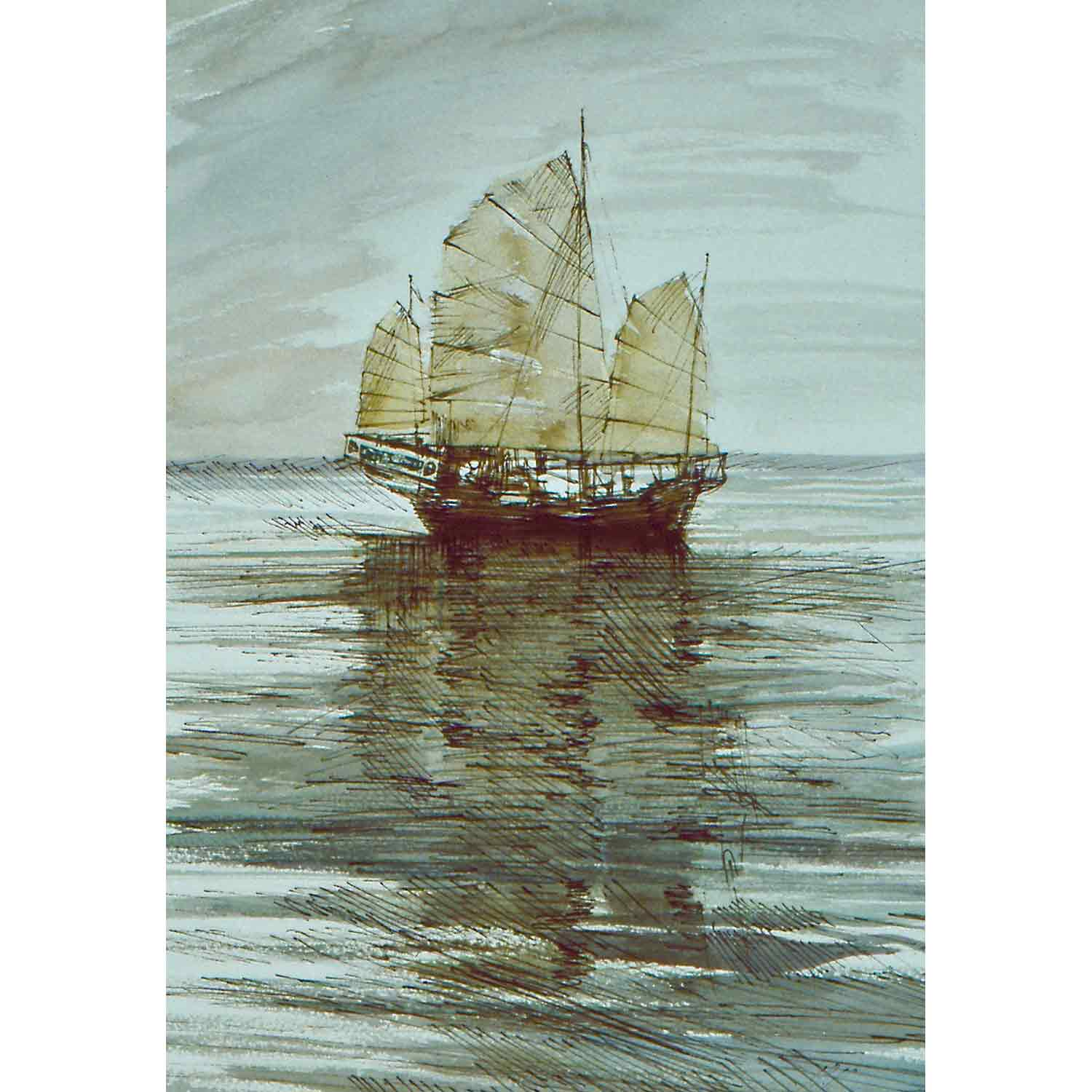 Chinese Junk - pen and watercolour