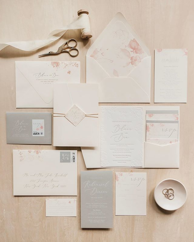 Dusty pinks and warm neutrals for Blair + Ben who were married on a rooftop in Brooklyn over the weekend 😍 . . . #graphicdesign #weddinginvitations #surprisewedding #weddingstationery #engaged #engagementparty #weddingpaper #customstationery #graphicdesigner #modernbride #thatsdarling #monogram #typography #weddingdetails
