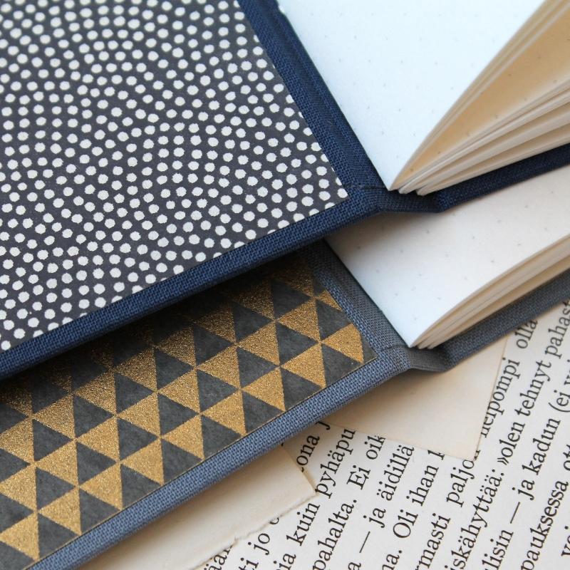 handmade blue longstitch bullet journals by Kaija Rantakari / www.paperiaarre.com
