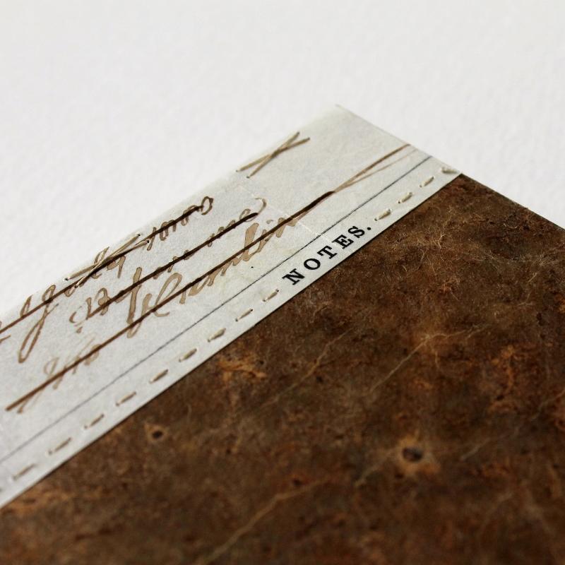 long stitch notebook with antique vellum document spine, handmade by Kaija Rantakari, 2017 / www.paperiaarre.com