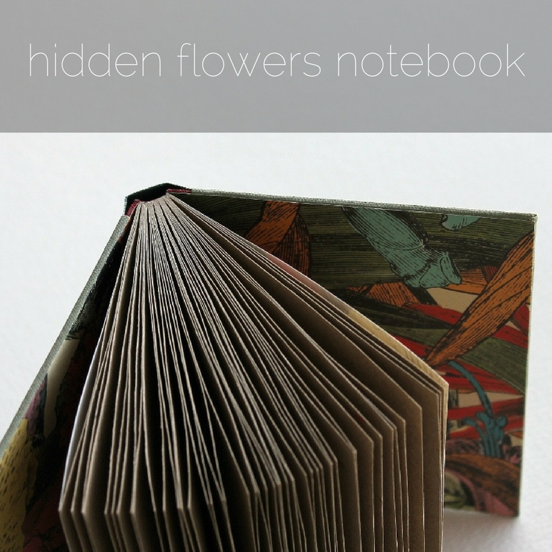 hidden flowers sewn boards notebook by Kaija Rantakari / www.paperiaarre.com