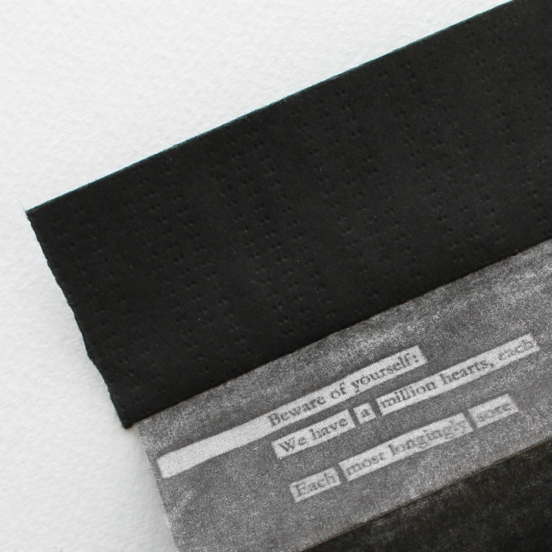 a million hearts - an artists' book by Kaija Rantakari, 2017 - image transfer on silk + typewriter on paper / www.paperiaarre.com